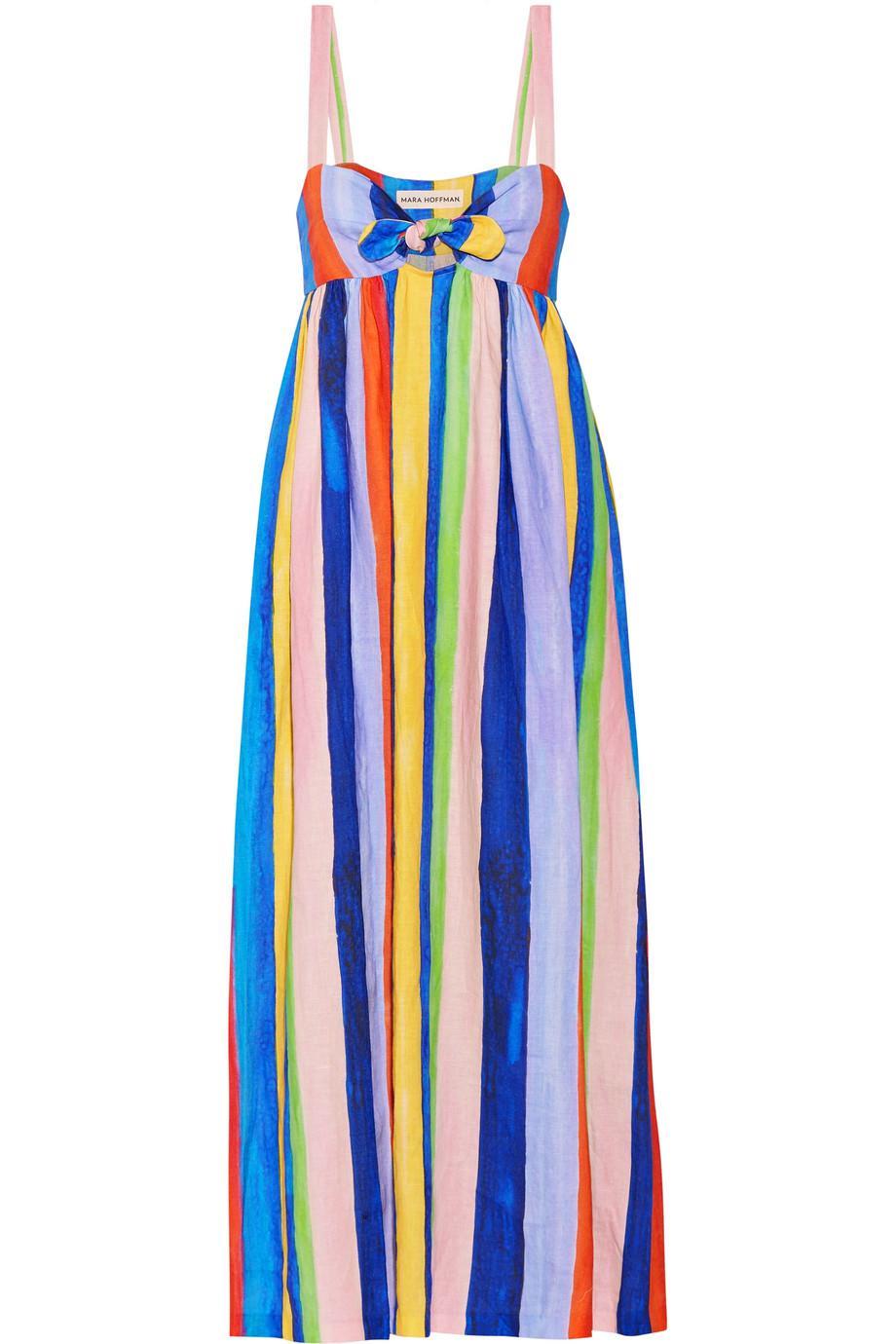 ed2c0402d Lyst - Mara Hoffman Tie-front Striped Organic Linen Maxi Dress in Blue