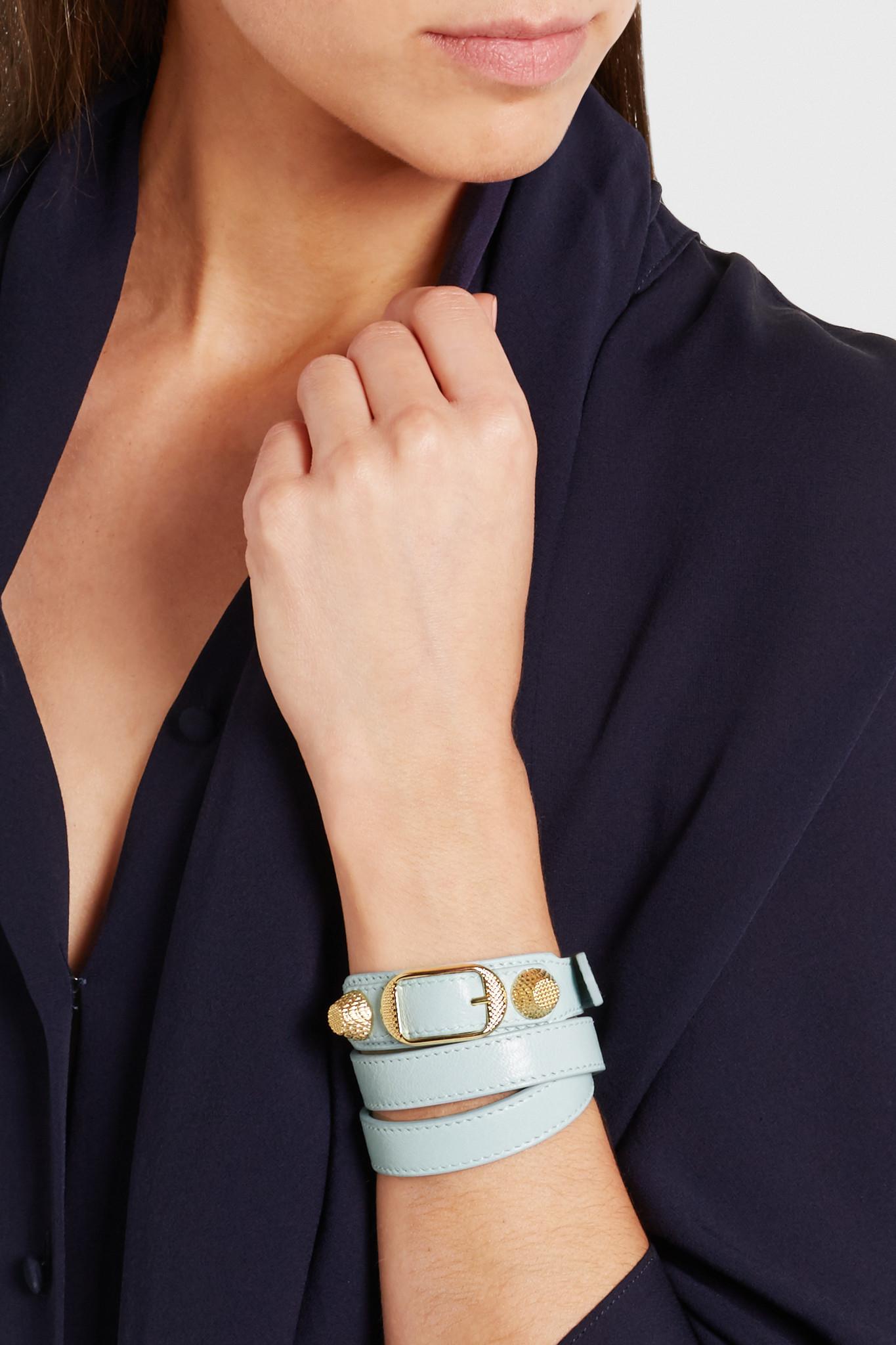 5bd0b397e8641 Balenciaga Blue Giant Triple Tour Textured-leather And Gold-tone Bracelet