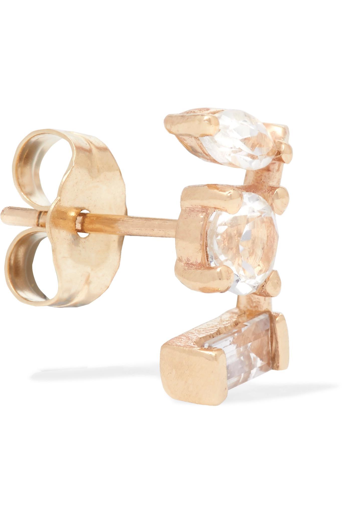 Loren Stewart Noble 14-karat Gold Sapphire Earring BnoJ346TU
