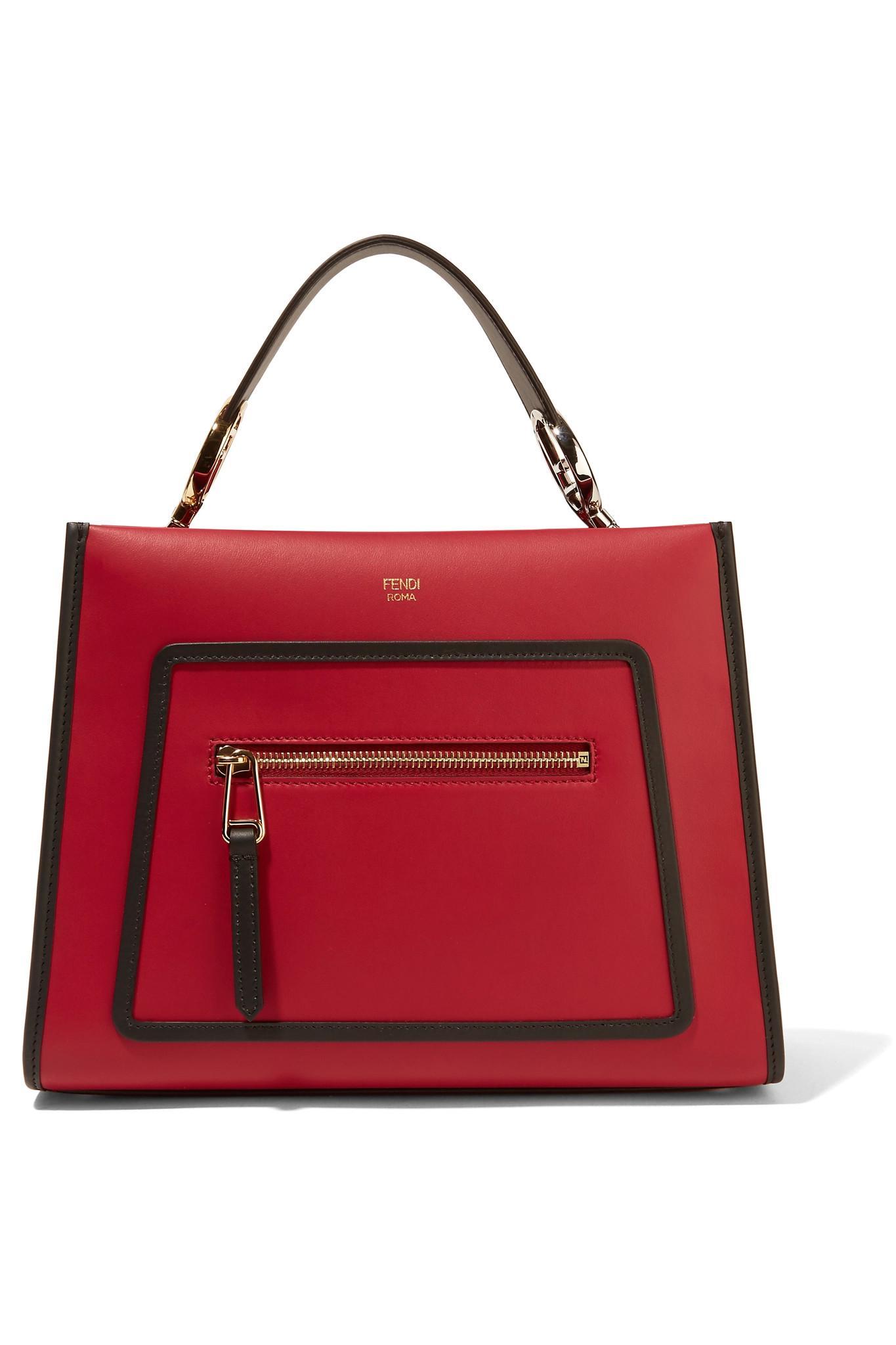 2a6e9e39cb5e ... get lyst fendi runaway small leather tote in red 6389b 384fd