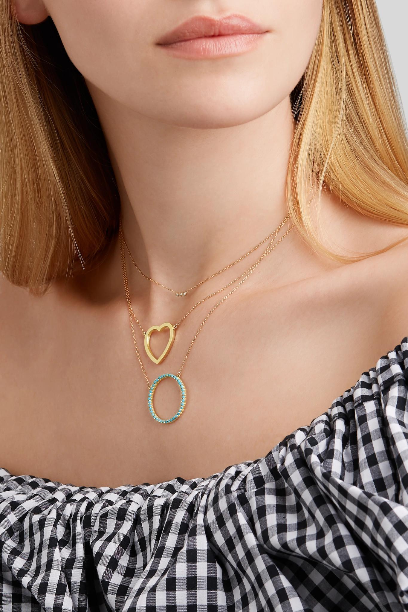 Jennifer Meyer Open Circle 18-karat Gold Turquoise Necklace in Metallic