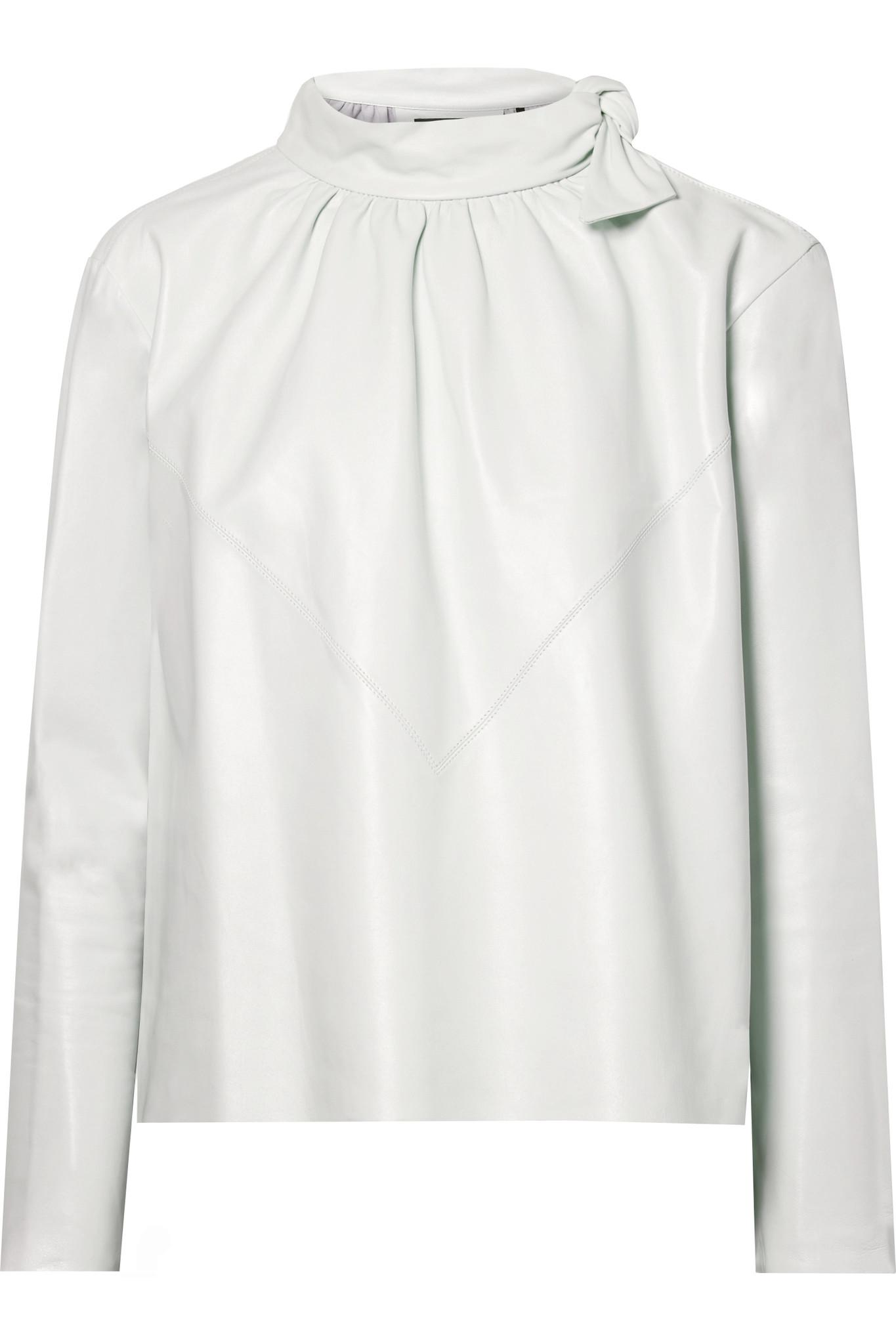 11dbb64091776e Lyst - Isabel Marant Chay Gathered Leather Blouse in White