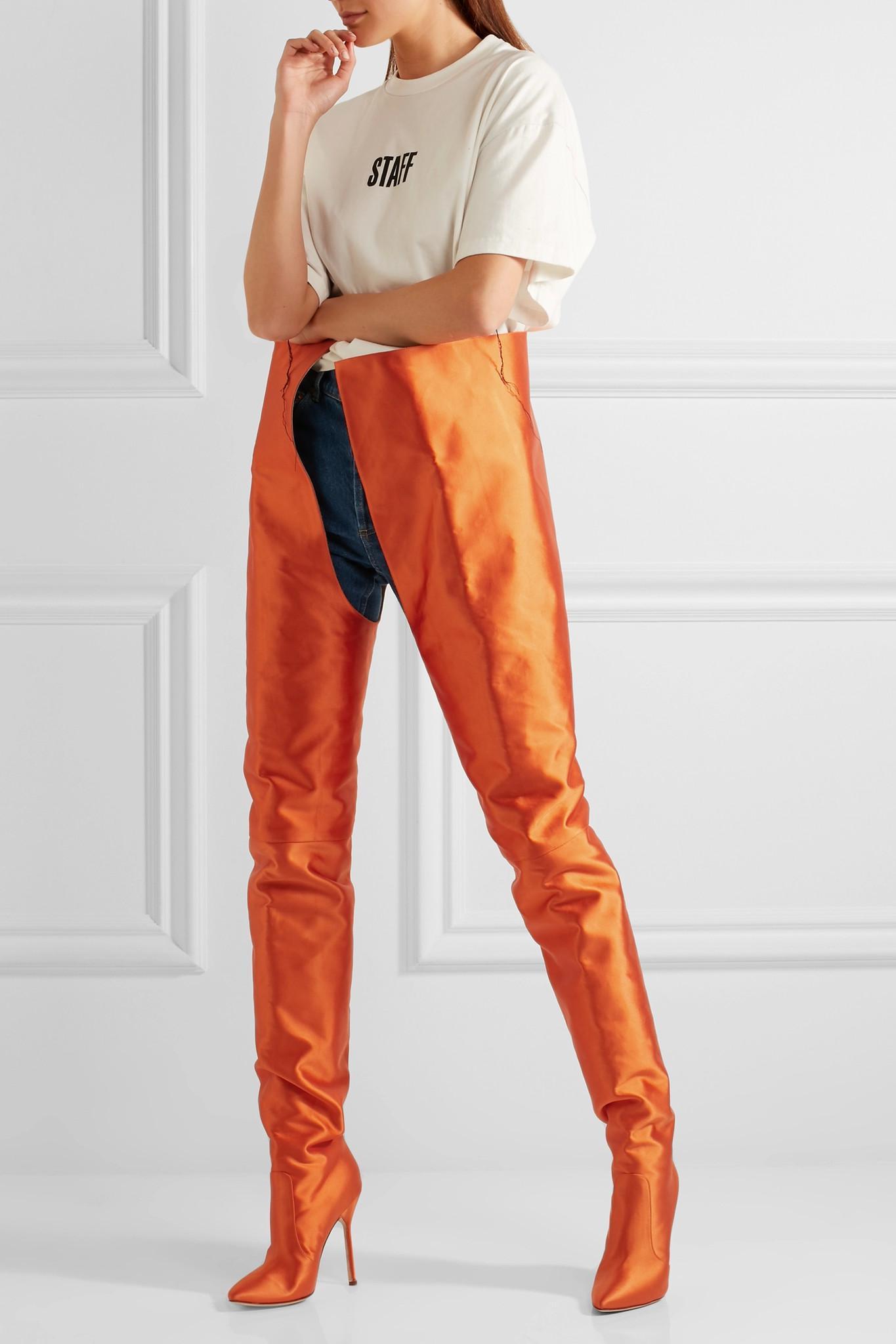 Lyst Vetements Manolo Blahnik Satin Boots In Orange