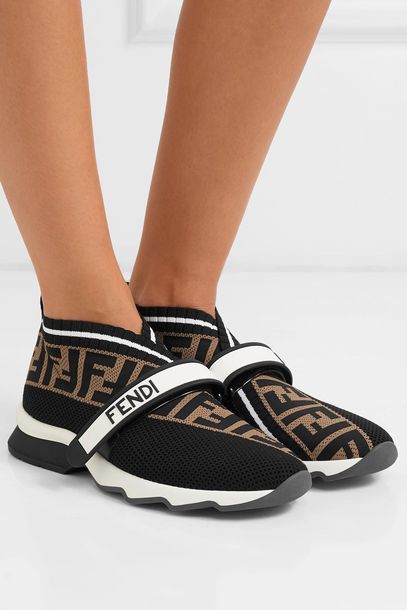 Fendi Ff Velcro Sock Trainers in Black