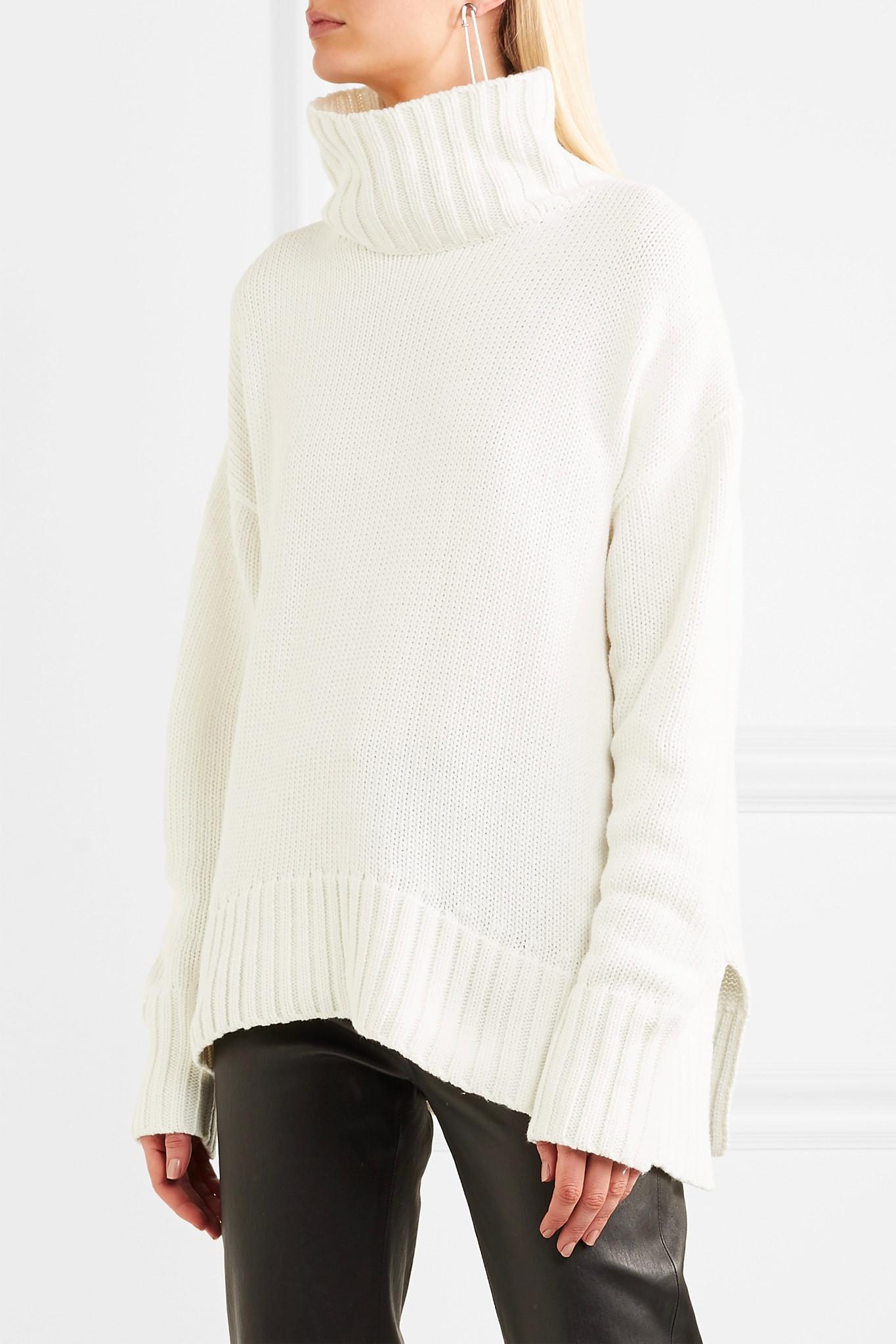 Joseph Sloppy Joe Cotton-blend Turtleneck Sweater in White | Lyst
