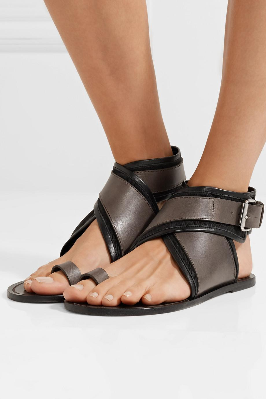 Outlet Low Cost Isabel Marant Johen Leather And Canvas Sandals Free Shipping View uZL4iH