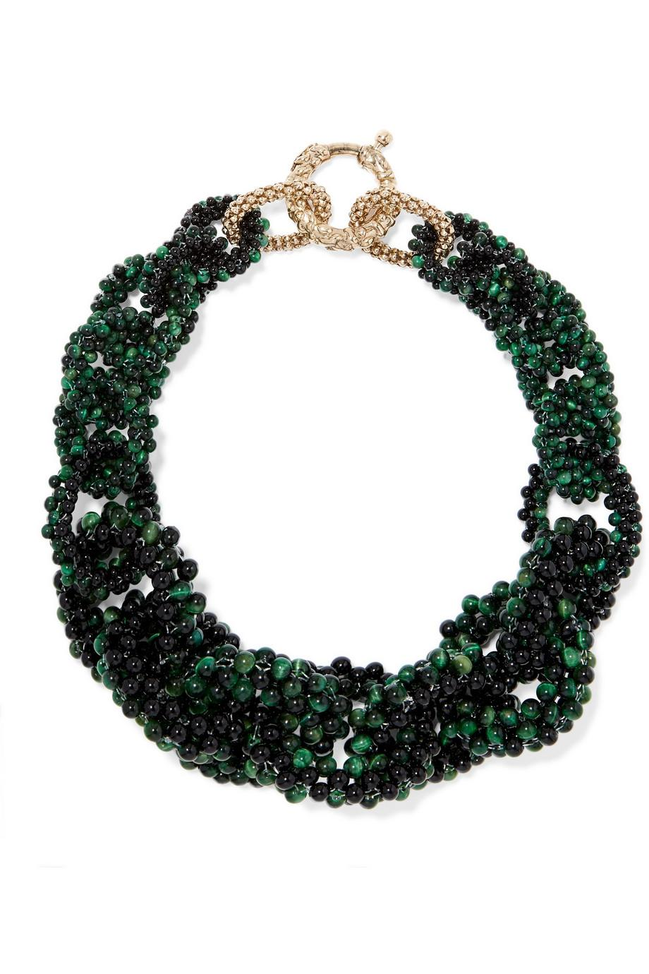 Rosantica Carramato Gold-tone Quartz And Onyx Necklace - Green EXewo