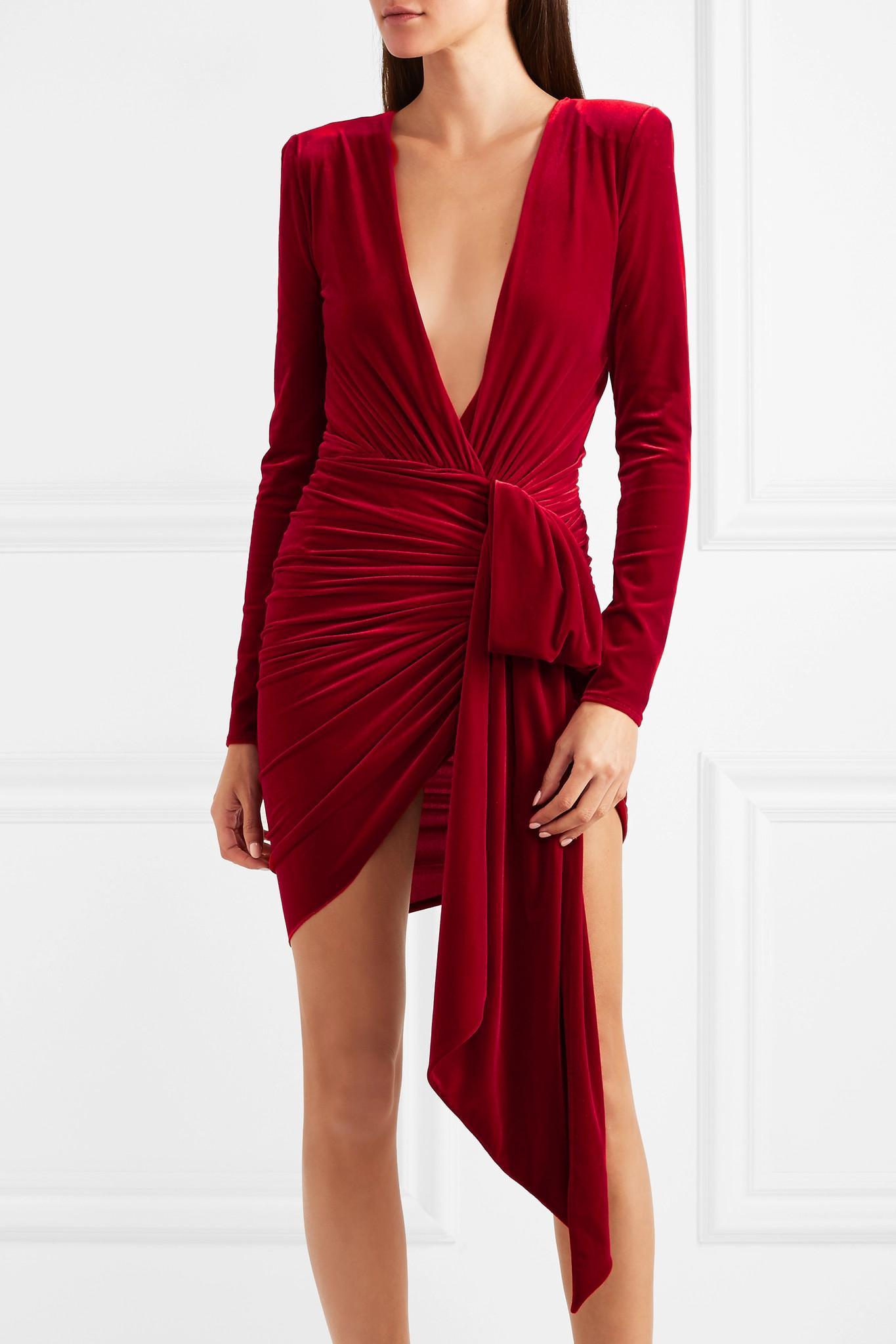 buy good reputable site outlet online Draped Stretch-velvet Mini Dress