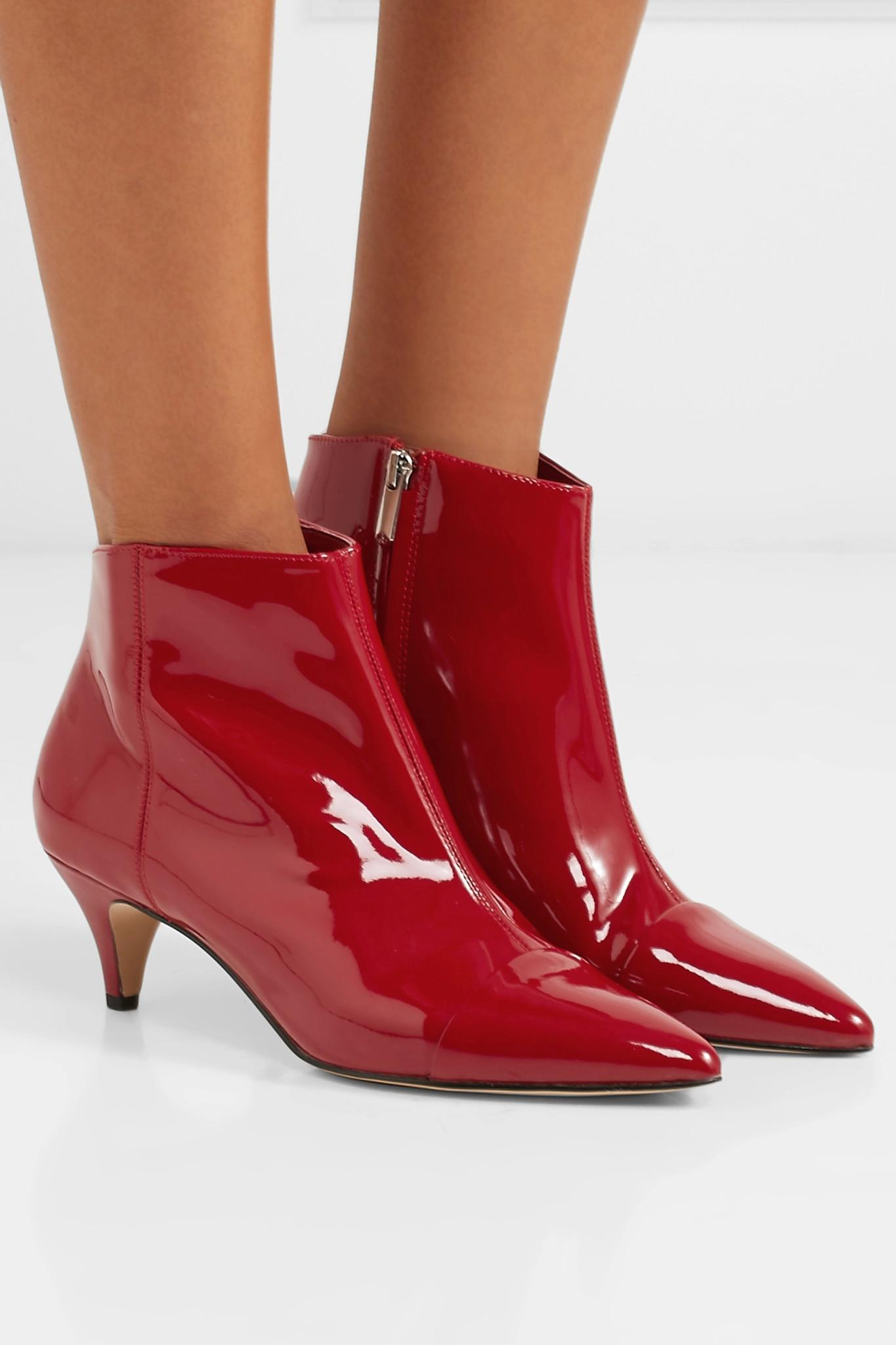 0a7ed2a2c Lyst - Sam Edelman Kinzey Patent-leather Ankle Boots in Red