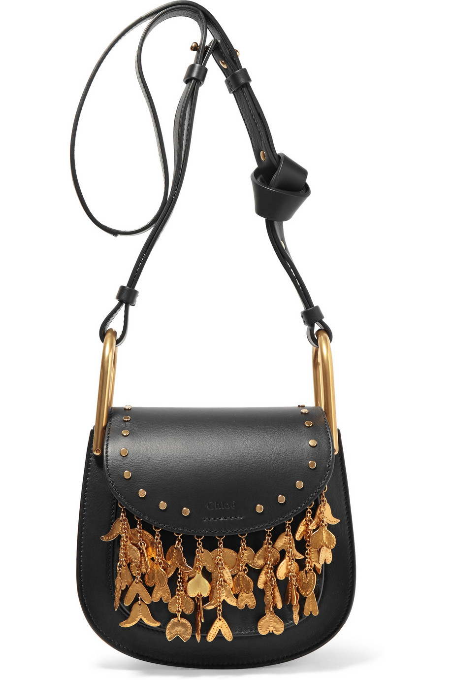 chlo chlo hudson mini embellished leather shoulder bag in black lyst. Black Bedroom Furniture Sets. Home Design Ideas