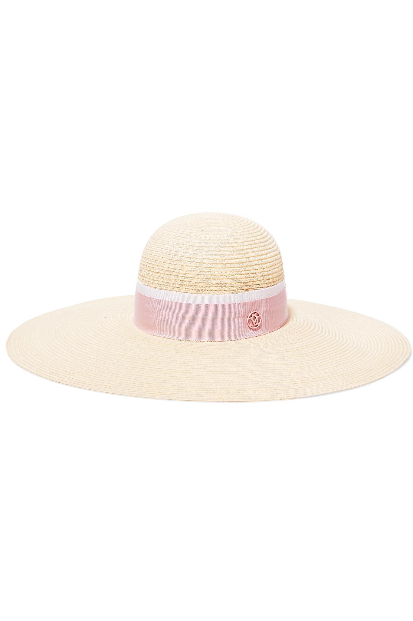 Blanche Polka-dot Silk Faille-trimmed Hemp Sunhat - Ivory Maison Michel OSI09VTEFB