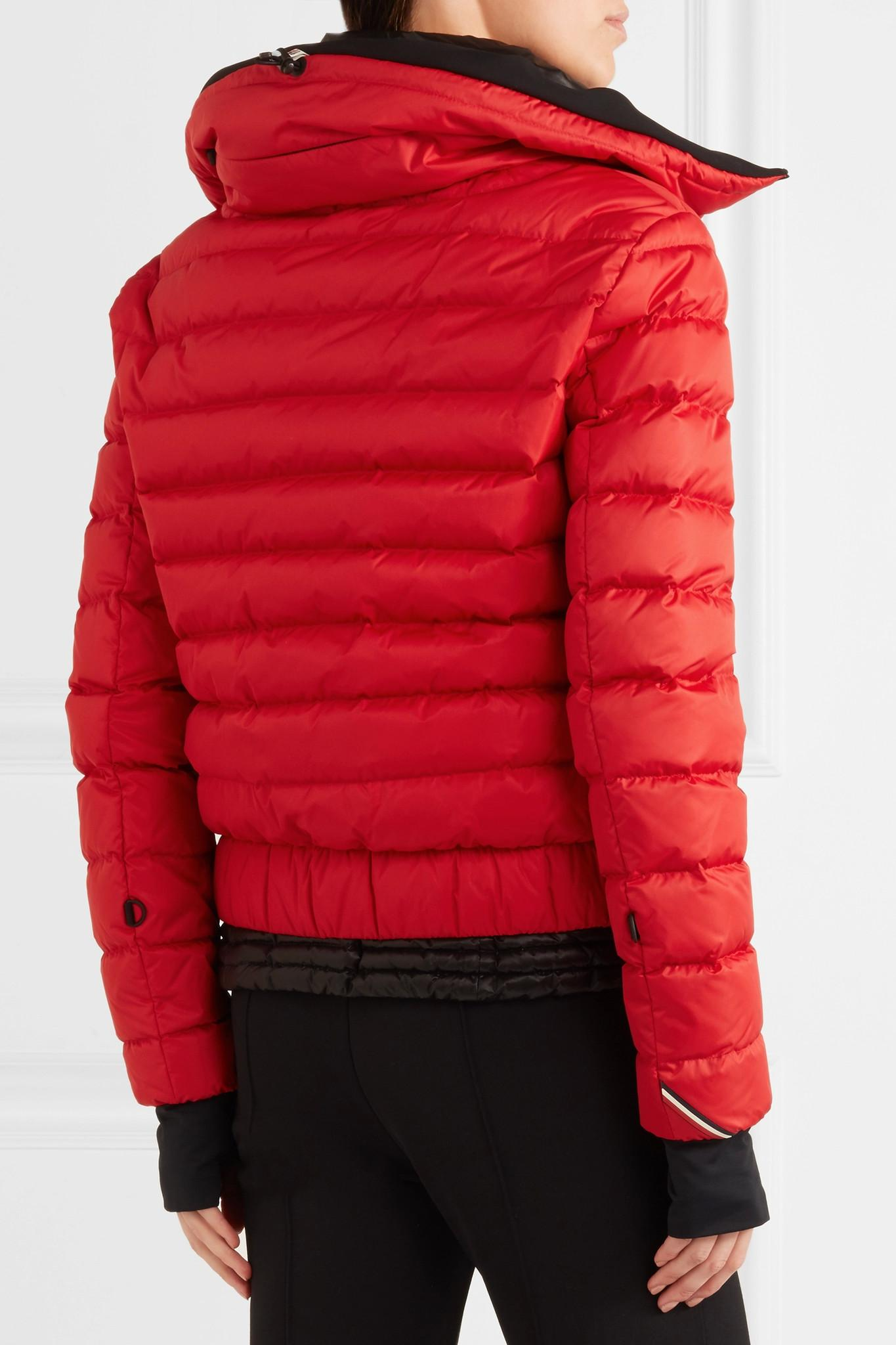 3 Moncler Grenoble Vonne Hooded Quilted Down Jacket In Red