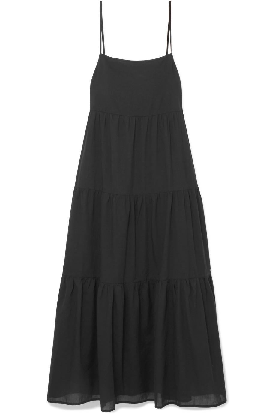 Tiered Cotton-voile Maxi Dress - Black Matteau 2018 Unisex Cheap Online Clearance Store Online Shopping Online RZRhYKo