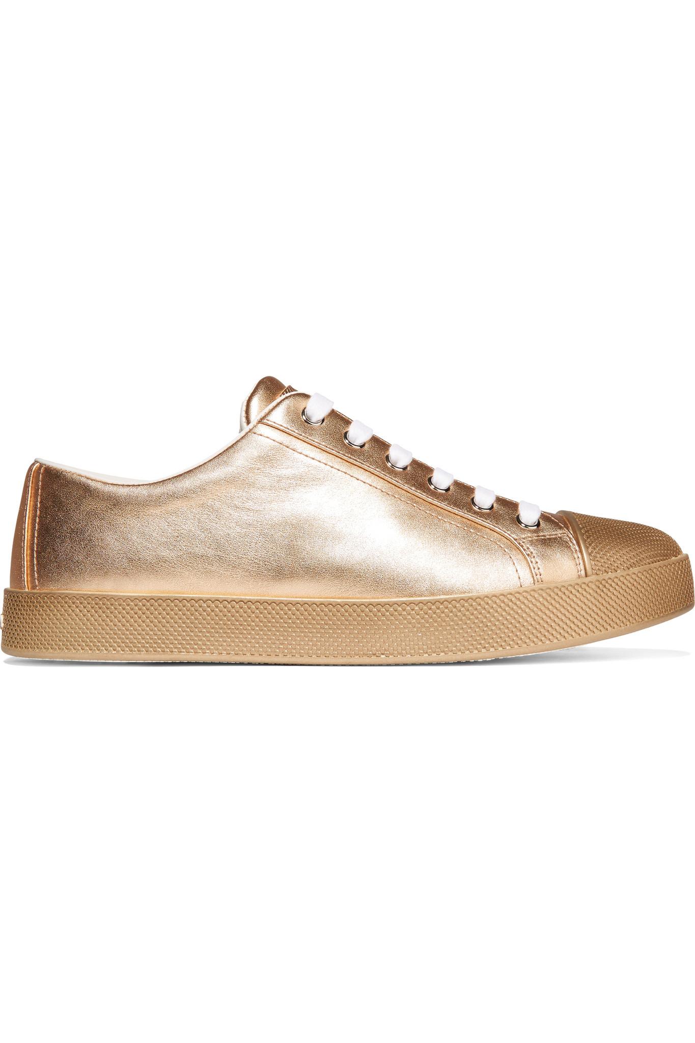 prada metallic textured leather trainers in metallic lyst