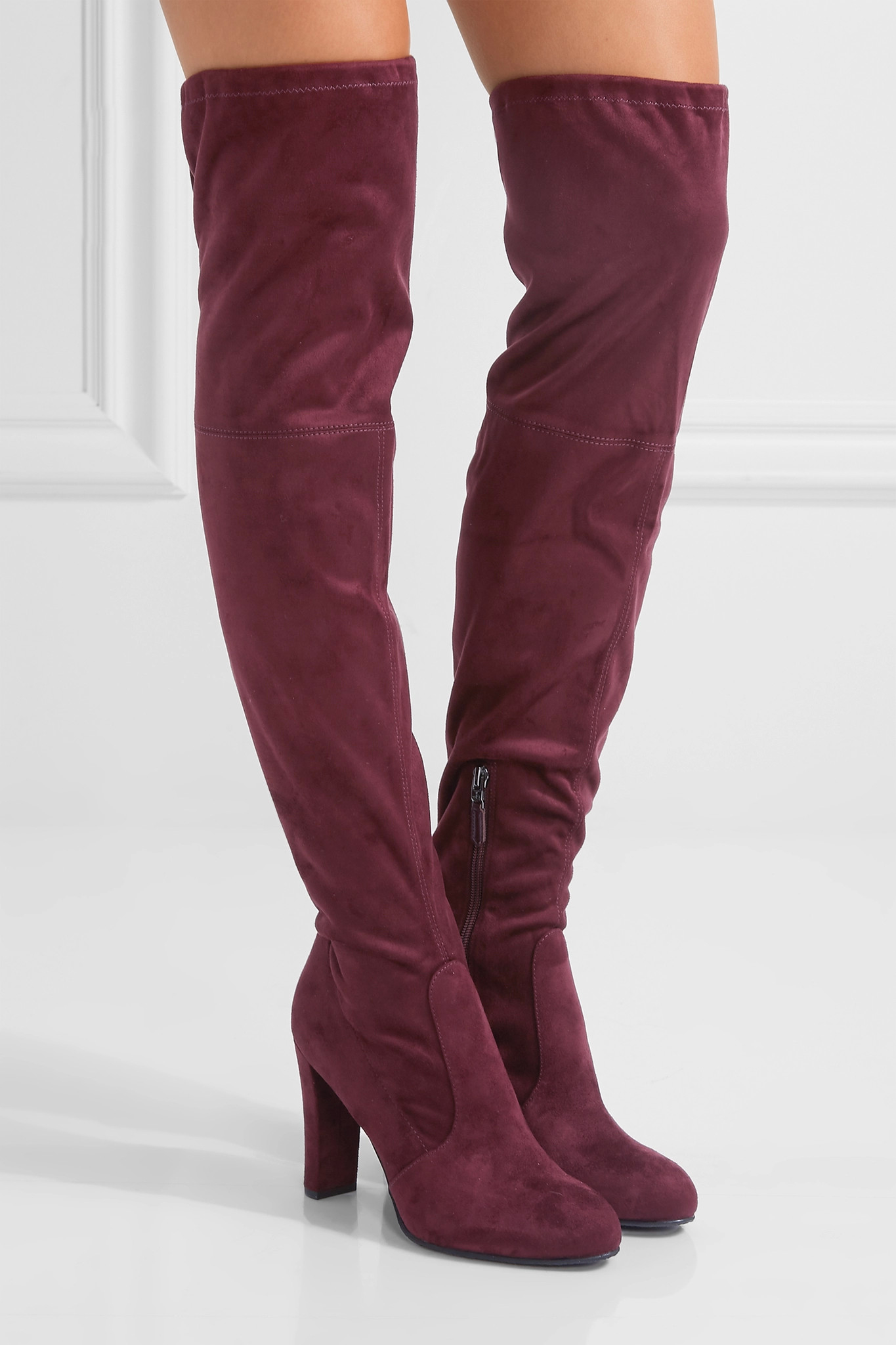 Sam Edelman Kent Suede Over The Knee Boots In Burgundy