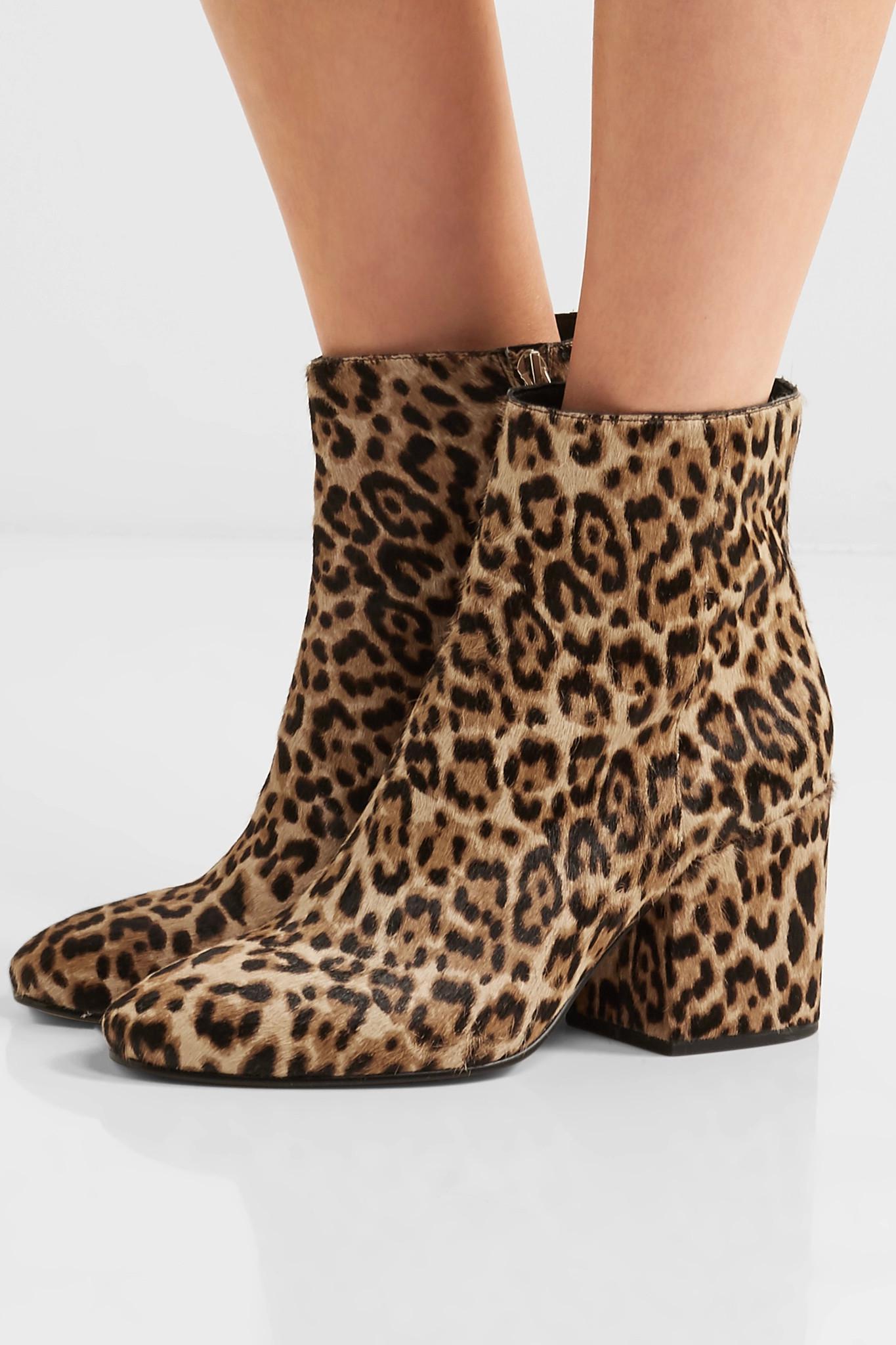 7f7aa2d2a1d6 Lyst - Sam Edelman Taye Leopard-print Calf Hair Ankle Boots in Brown
