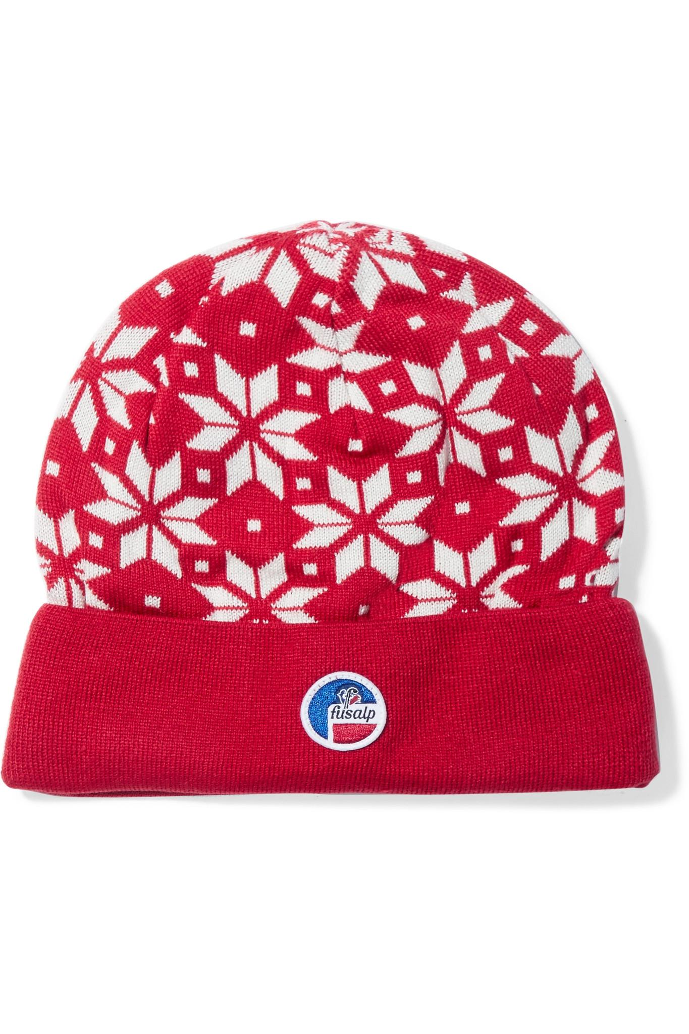 Snowflake Intarsia Knitted Beanie - Red Fusalp