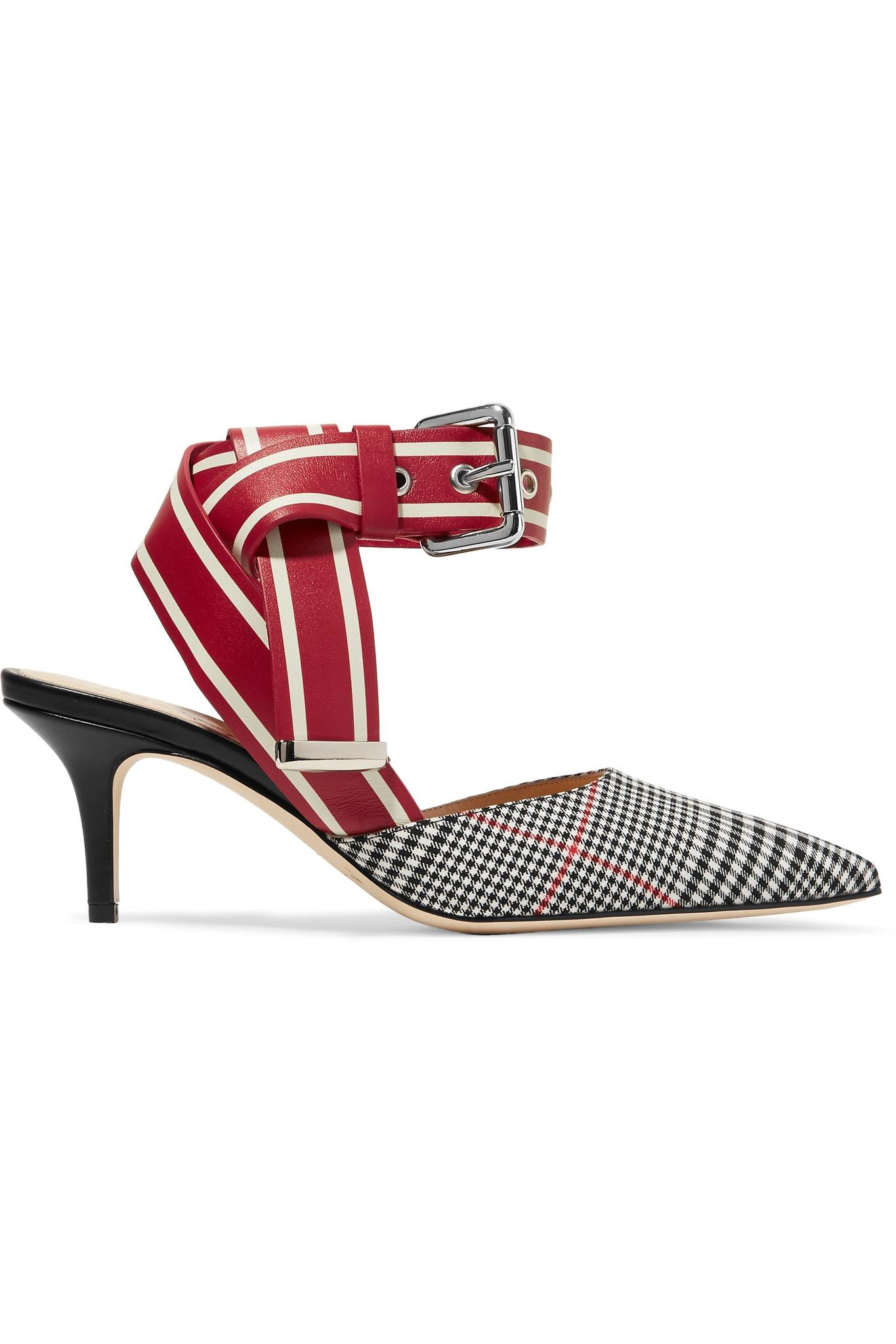 75a6a0fed2e Monse Leather And Prince Of Wales Checked Twill Pumps in Red - Lyst