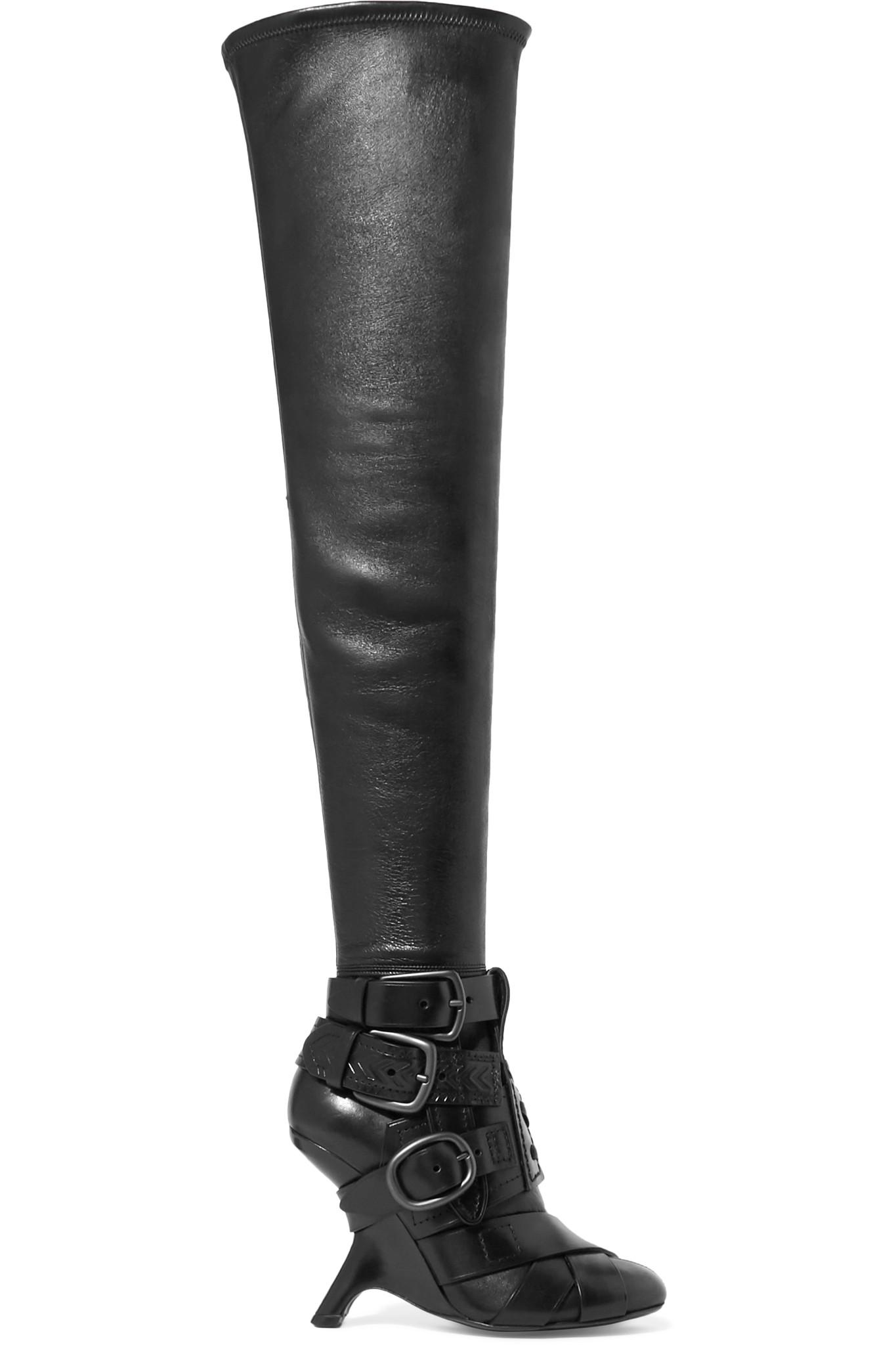 Tom Ford Buckled Leather Over-the-knee Boots in Black