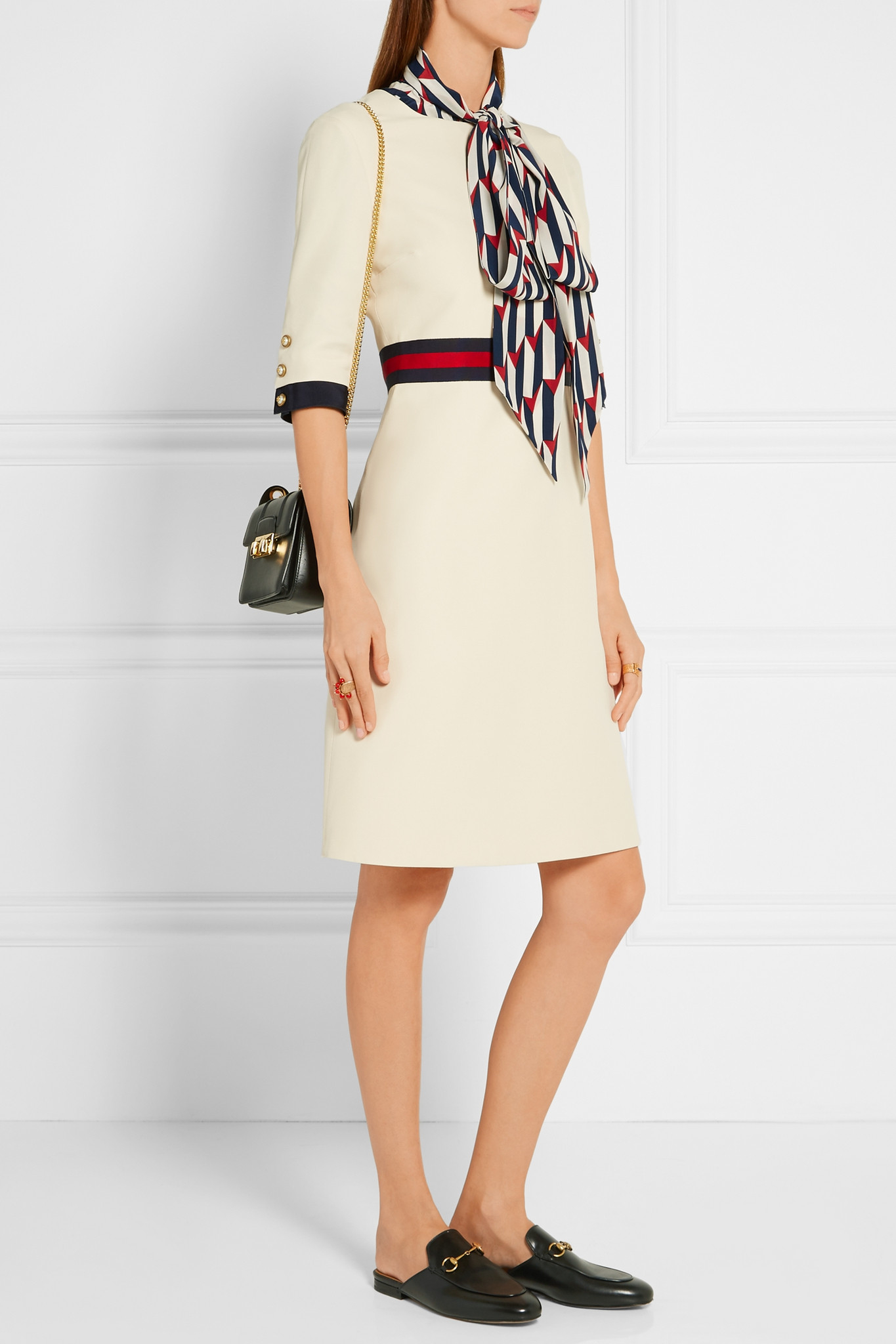 a3b735679 Gucci Grosgrain-trimmed Wool And Silk-blend Mini Dress - Lyst