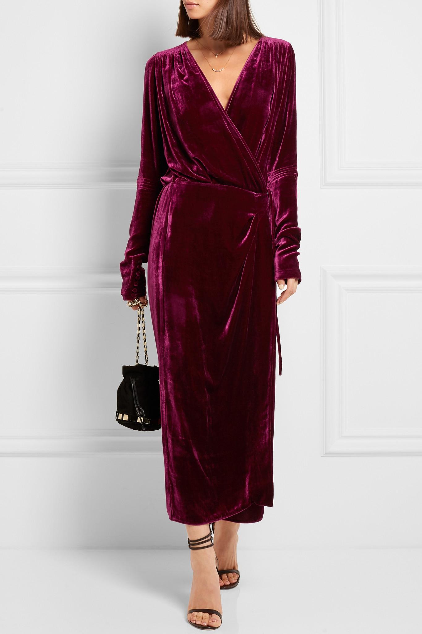Attico Jane Velvet Wrap Dress Lyst