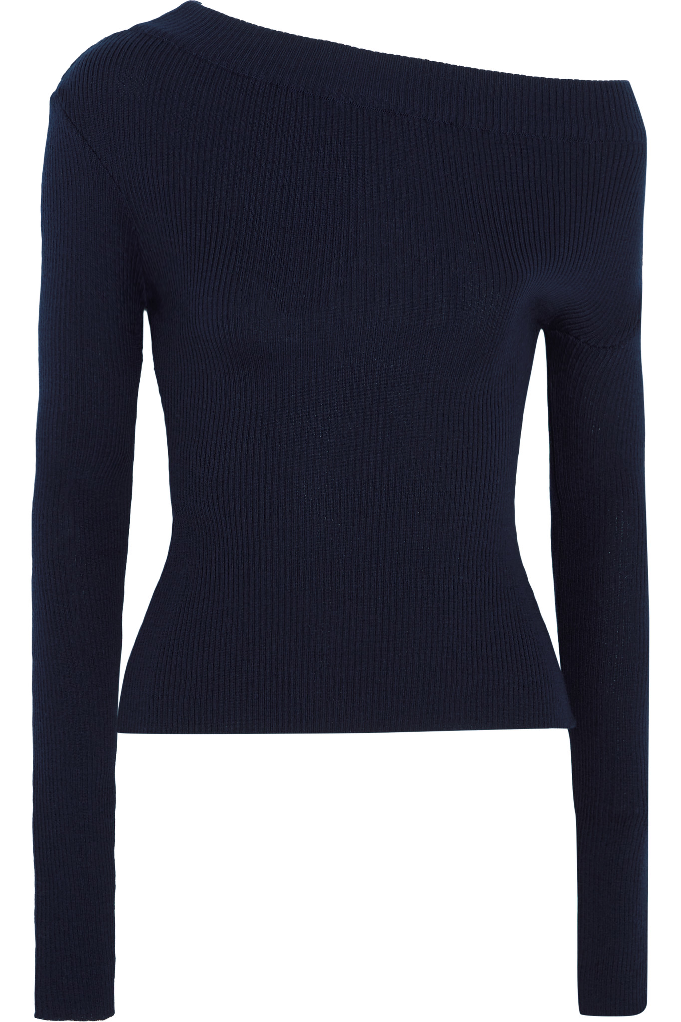Jacquemus One-shoulder Ribbed Wool Sweater in Blue | Lyst
