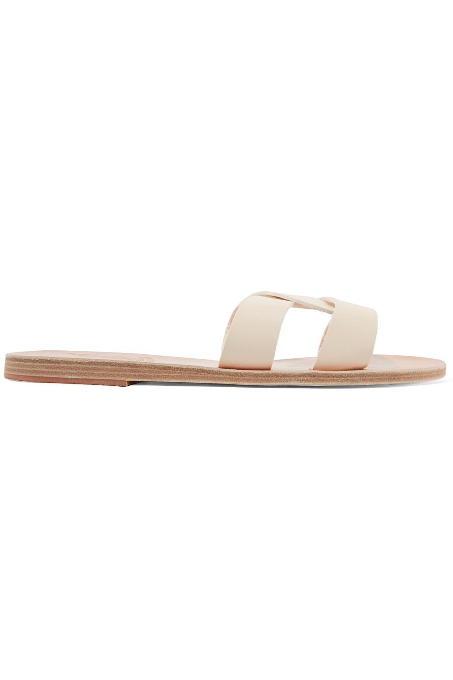 Desmos Cutout Metallic Leather Slides - Gold Ancient Greek Sandals bkv9Rth