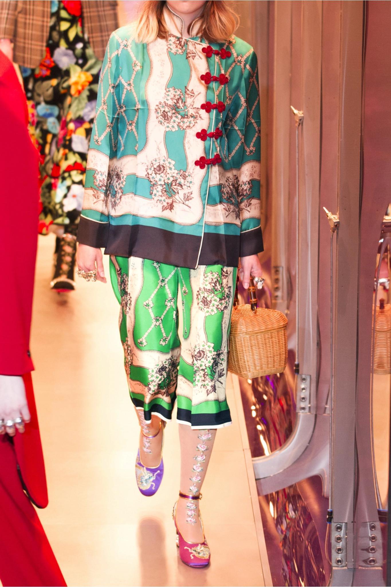 Printed Silk-twill Wide-leg Pants - Light green Gucci fWxANCj6m