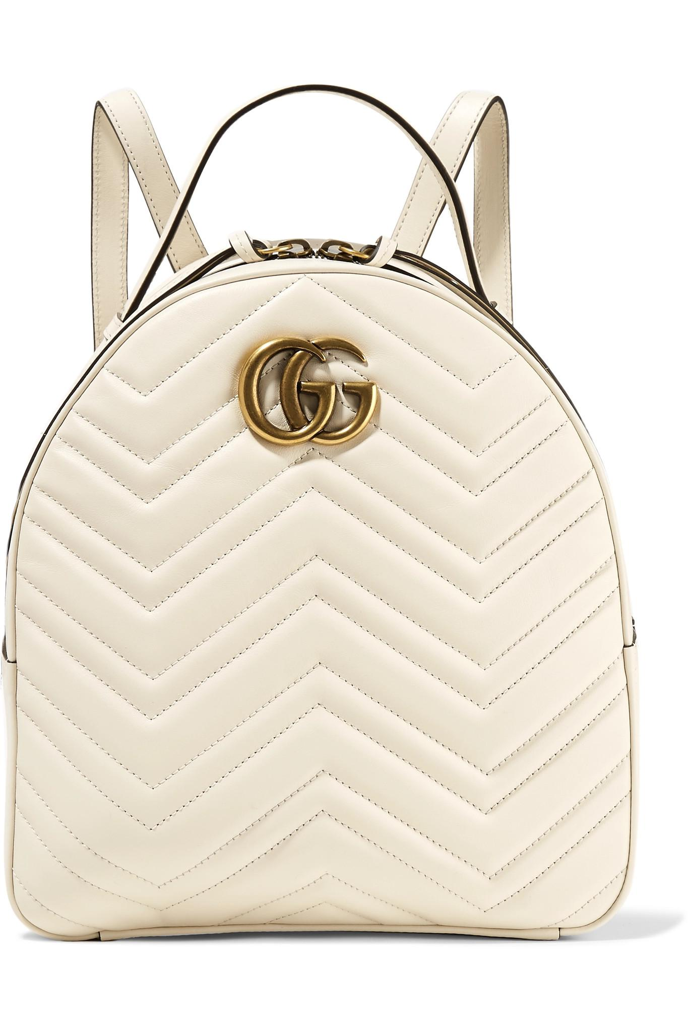 49f30e33539 Gucci Gg Marmont Quilted Leather Backpack in White - Lyst
