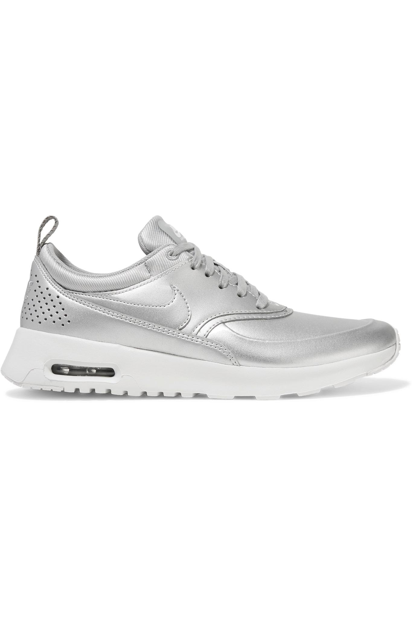 lyst nike air max thea metallic leather sneakers in. Black Bedroom Furniture Sets. Home Design Ideas