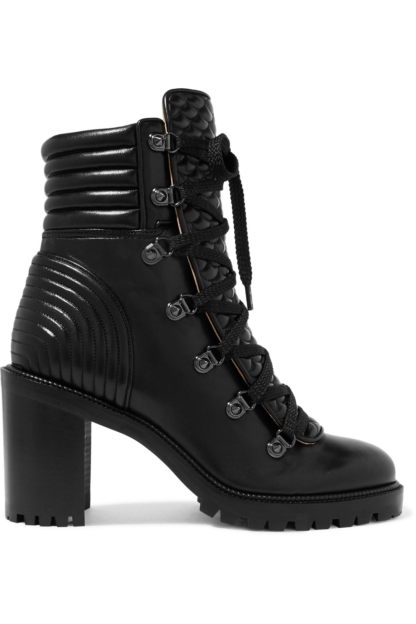 timeless design 6a933 20ff1 Christian Louboutin Black Mad 70 Spiked Quilted Leather Ankle Boots