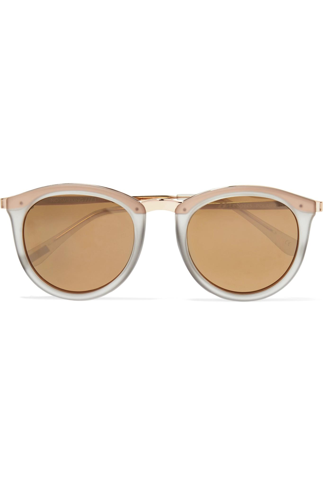 ab23df03db Le Specs. Women s Metallic No Smirking Round-frame Acetate Mirrored  Sunglasses