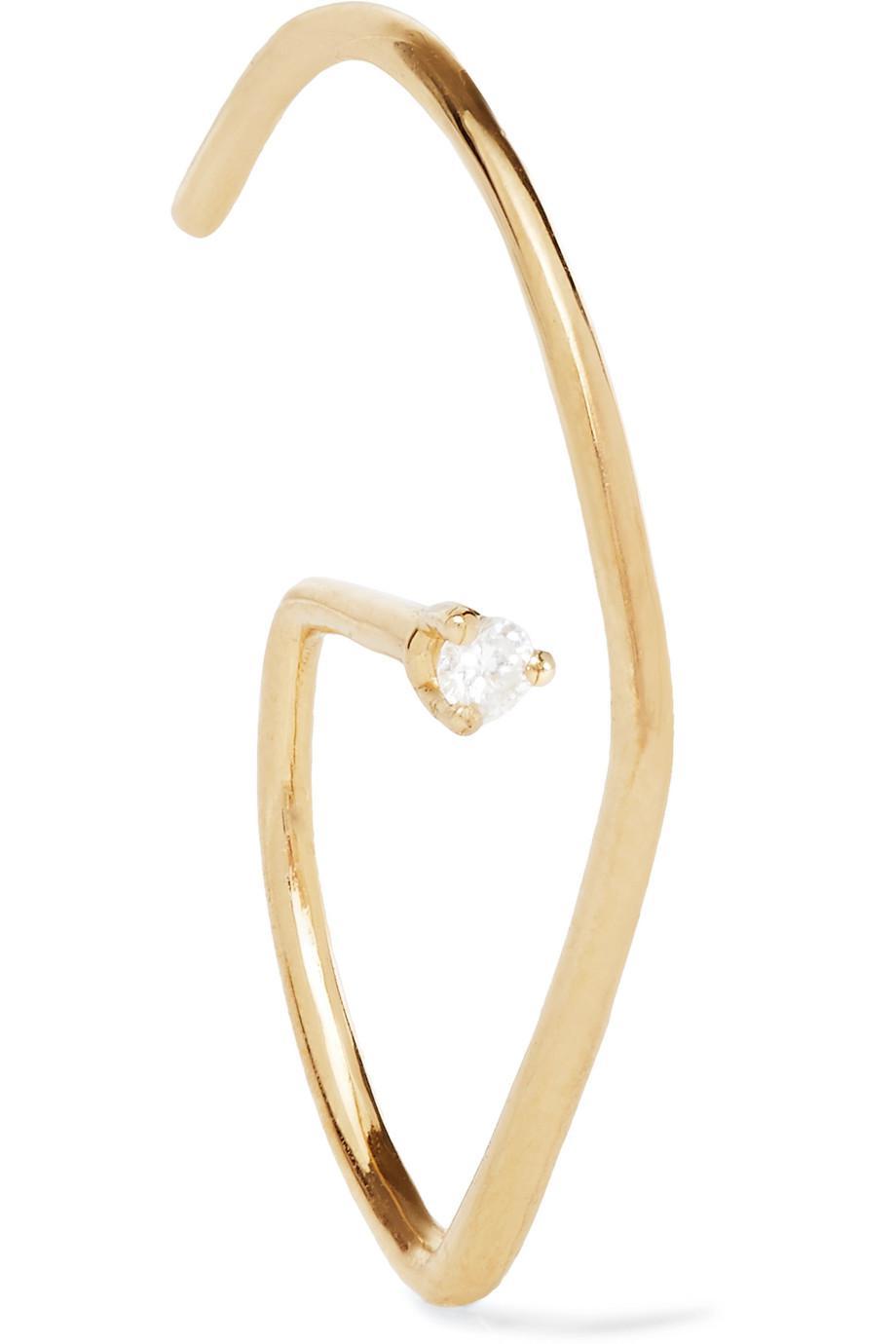 Sansoeurs G Helix 18-karat Gold Diamond Earring xcO225