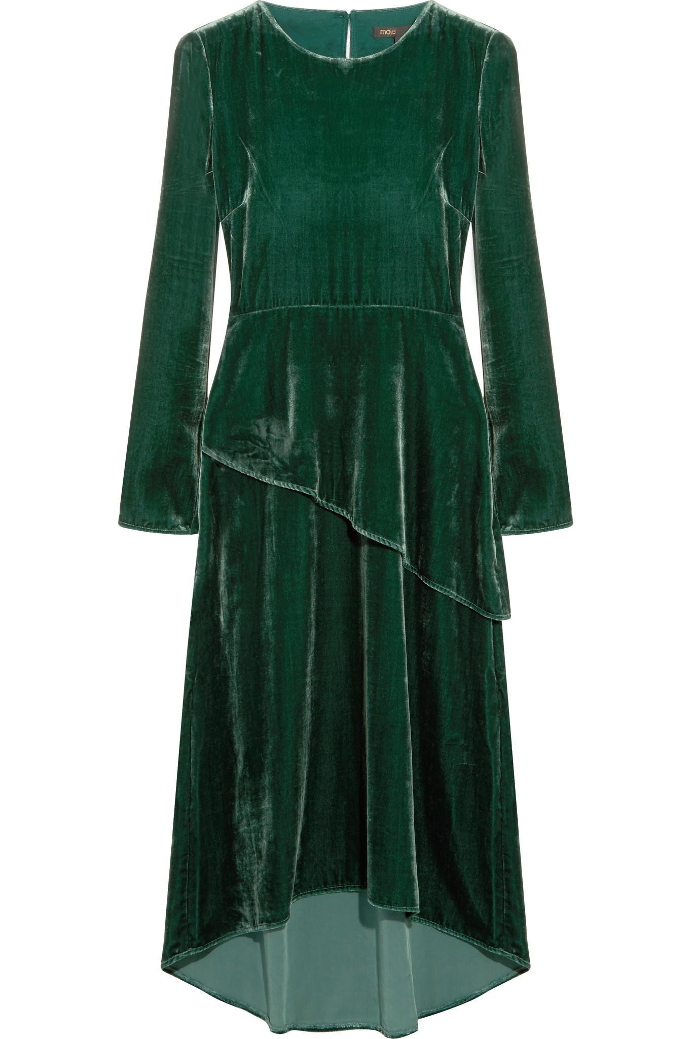 Lyst Maje Velvet Midi Dress In Green