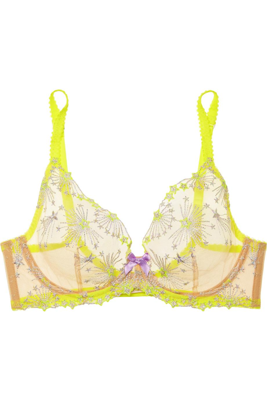 5368516bc7090 Lyst - Agent Provocateur Kaylie Embroidered Tulle Underwired Bra in ...
