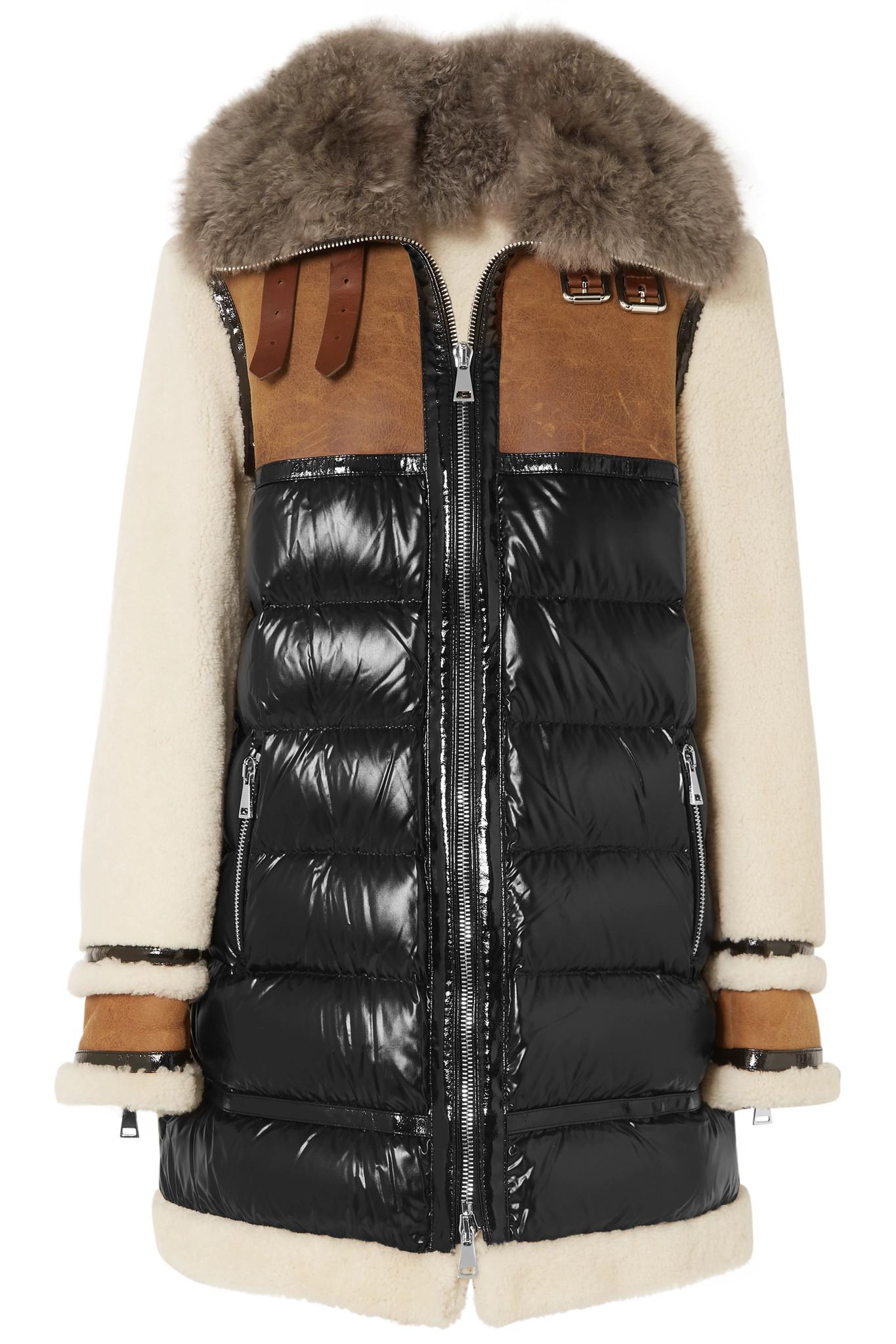 b3e99cac5 Moncler Black Shearling, Suede And Quilted Patent-shell Coat