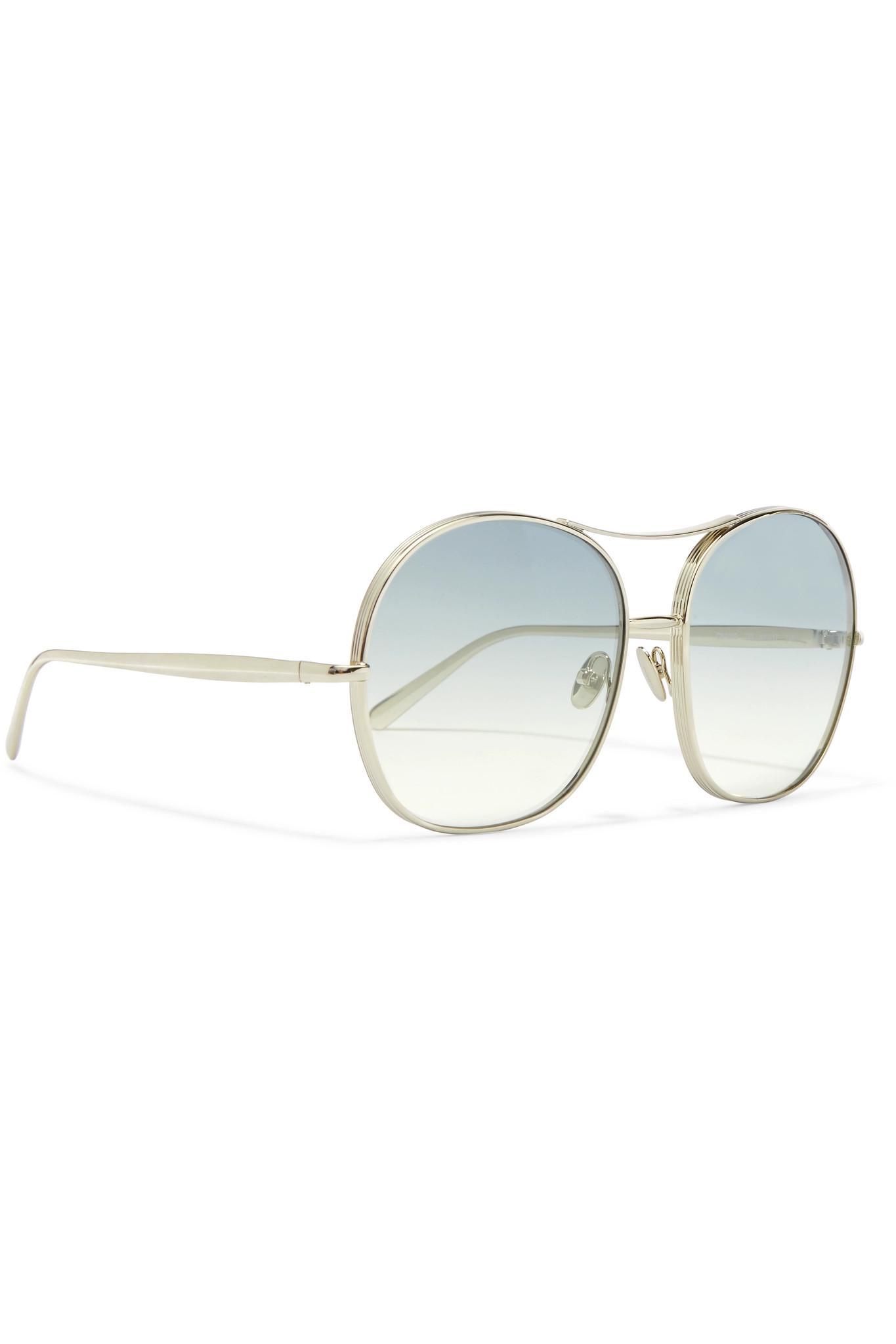 2436981f7611 Lyst - Chloé Nola Oversized Square-frame Gold-tone Sunglasses Gold ...