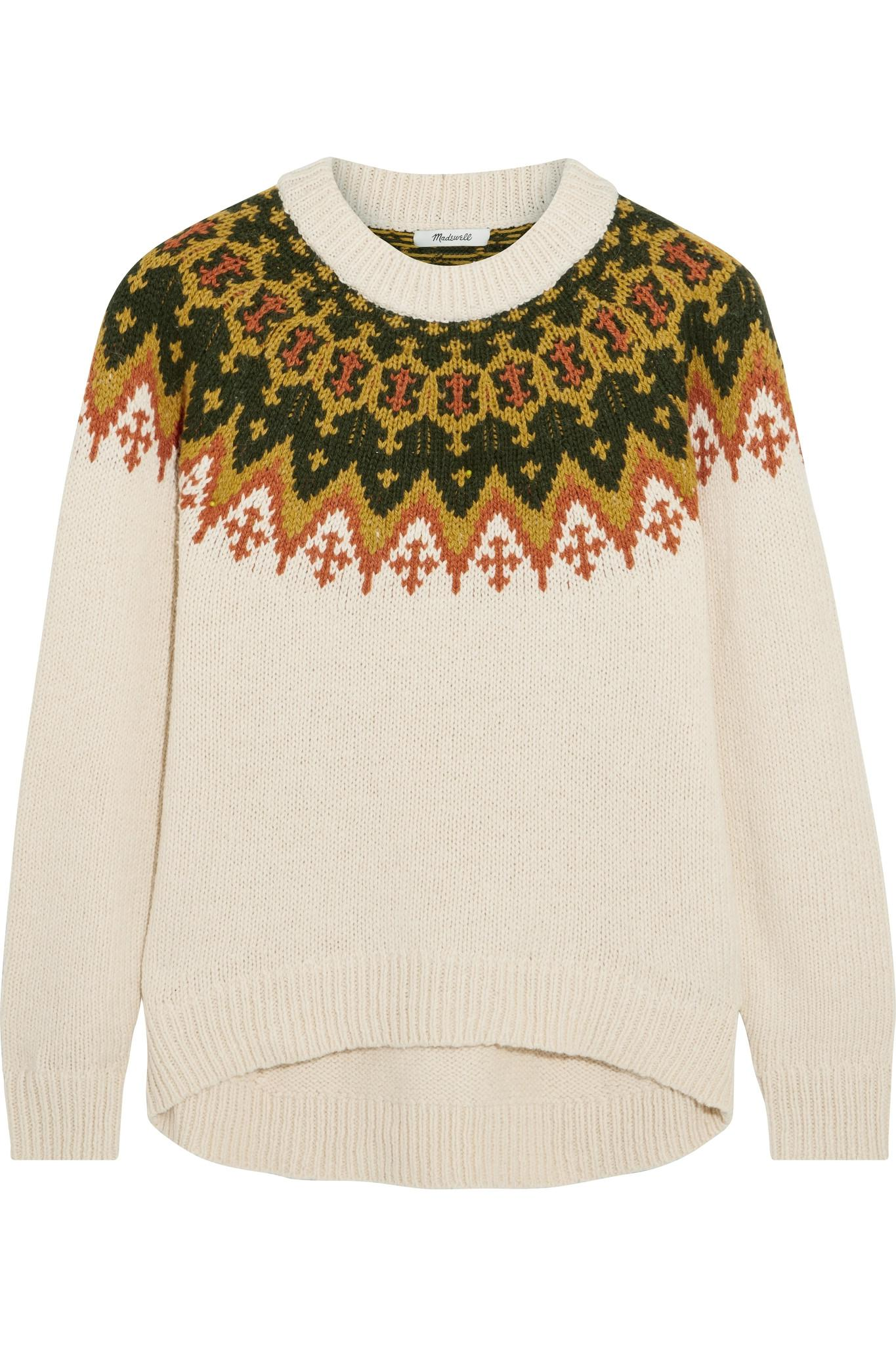 6cf87bc11698 Lyst - Madewell Fair Isle Cotton-blend Sweater in Natural