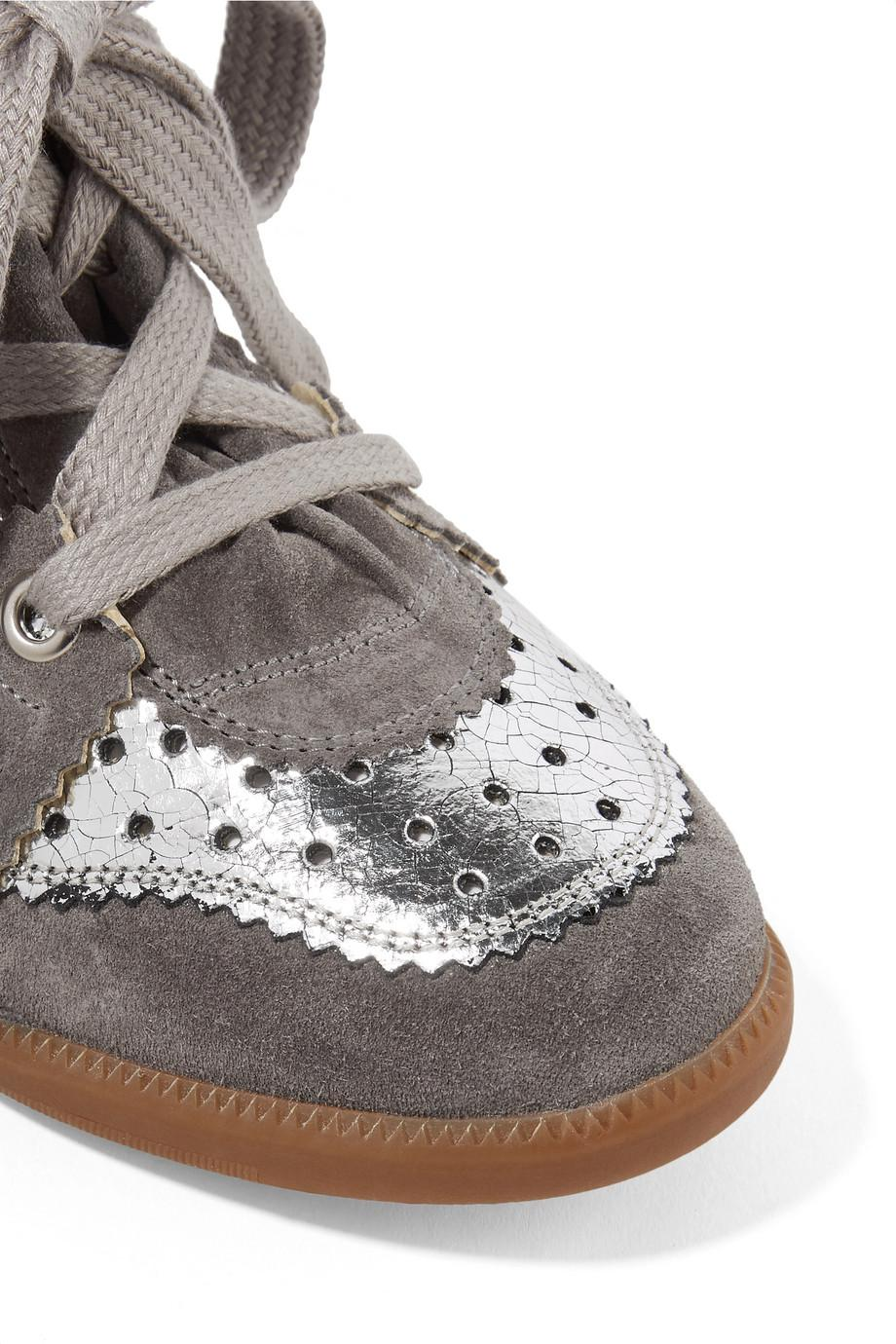 Bobby Perforated Metallic Leather And Suede Wedge Sneakers - Silver Isabel Marant vJdGjTkJ