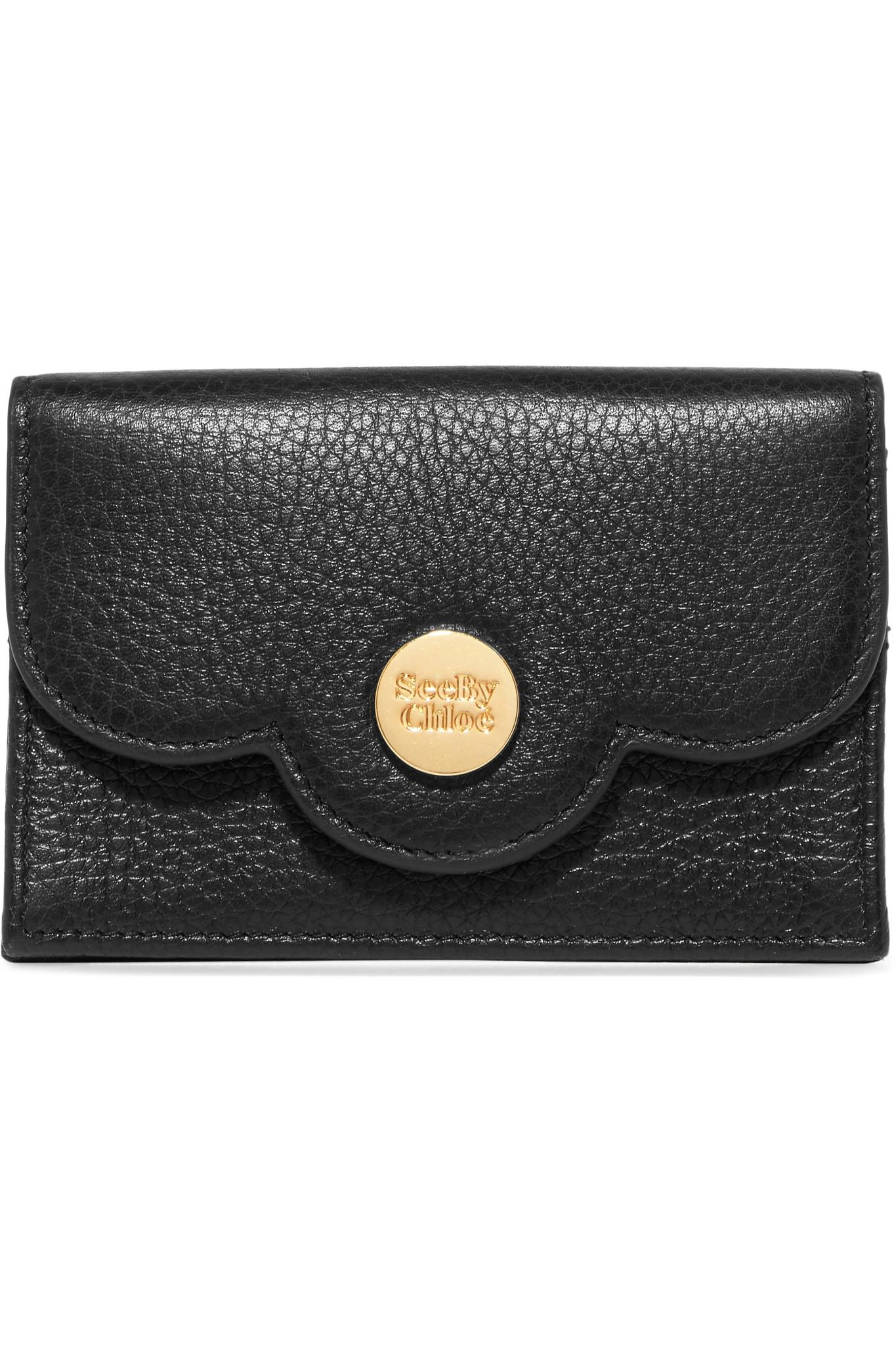 6f28a9f4 See By Chloé Black Polina Scalloped Textured-leather Cardholder