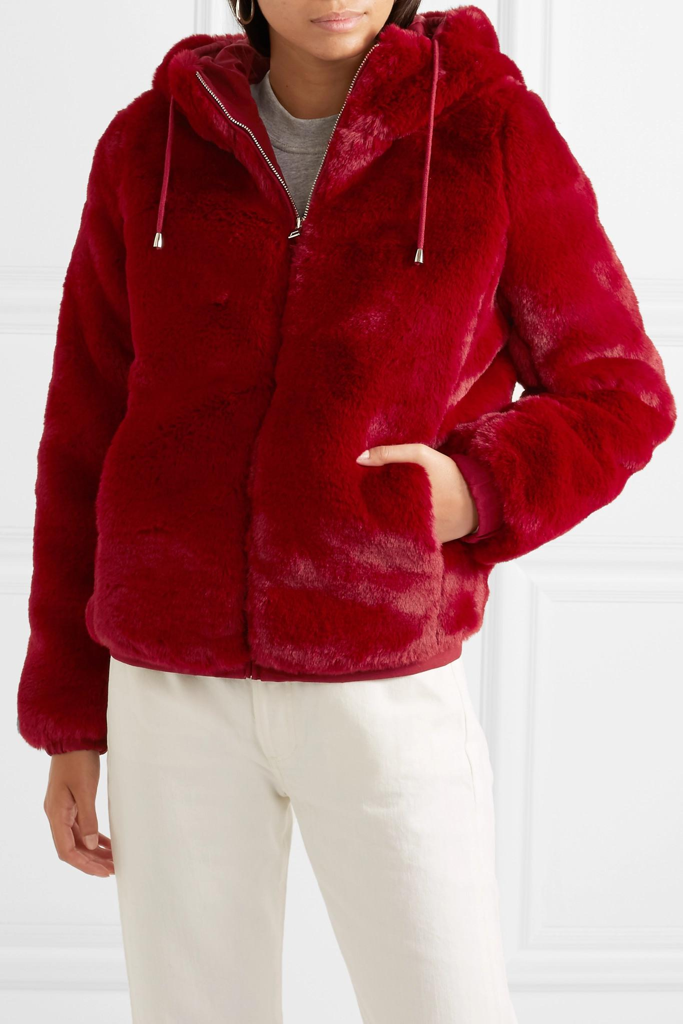 1eaa916802fb Maje - Red Hooded Faux Fur Jacket - Lyst. View fullscreen