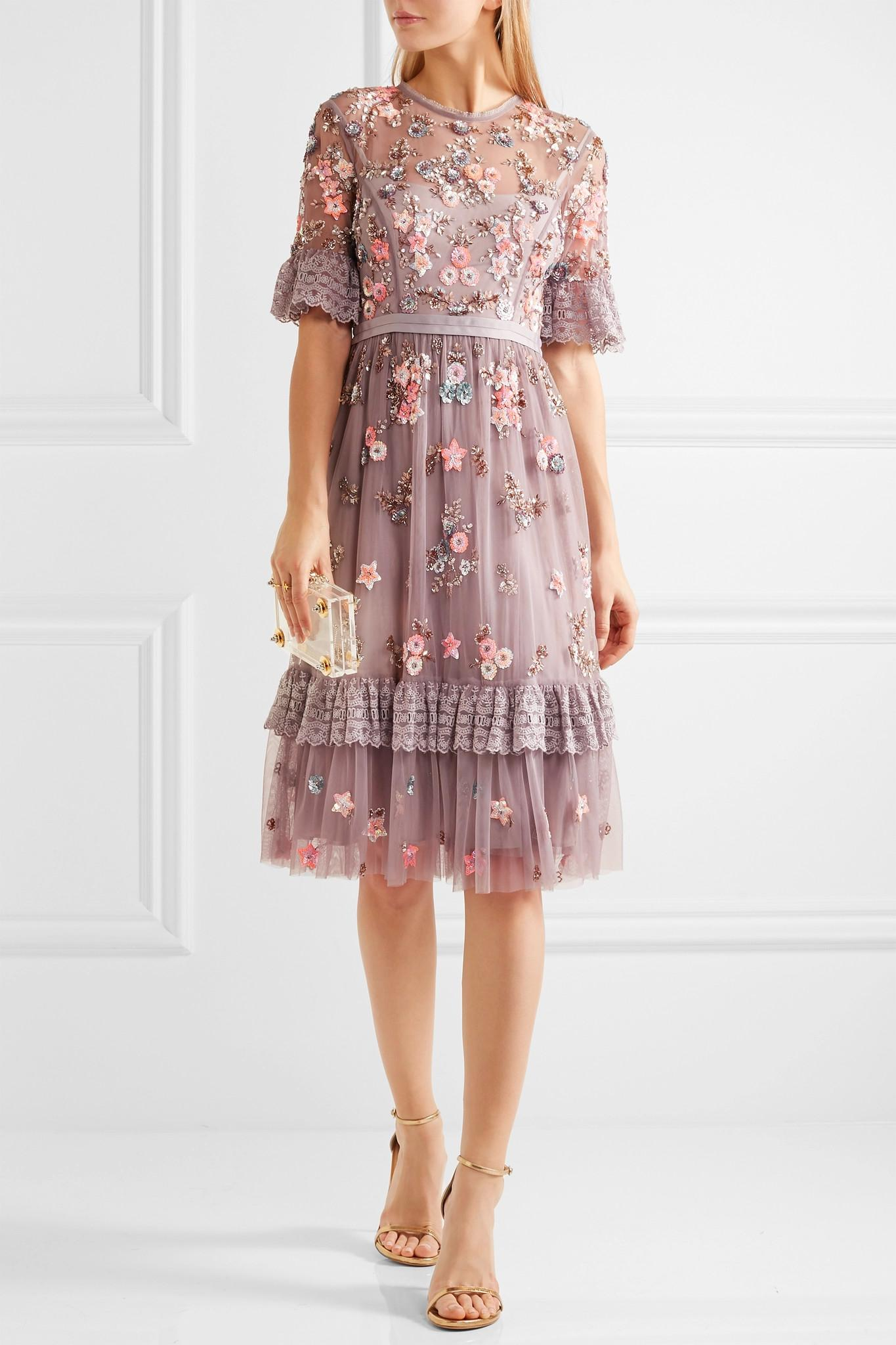 Needle Amp Thread Embellished Embroidered Tulle Dress In