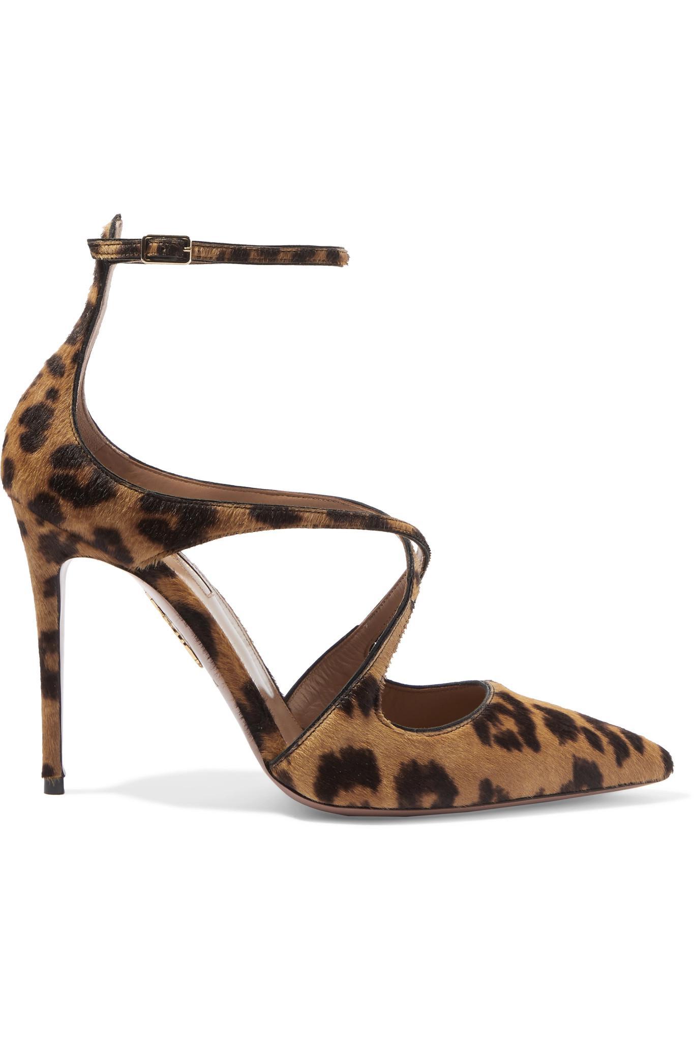 c5a1ec9dfbde Lyst - Aquazzura Viviana Leopard-print Calf Hair And Leather Pumps ...