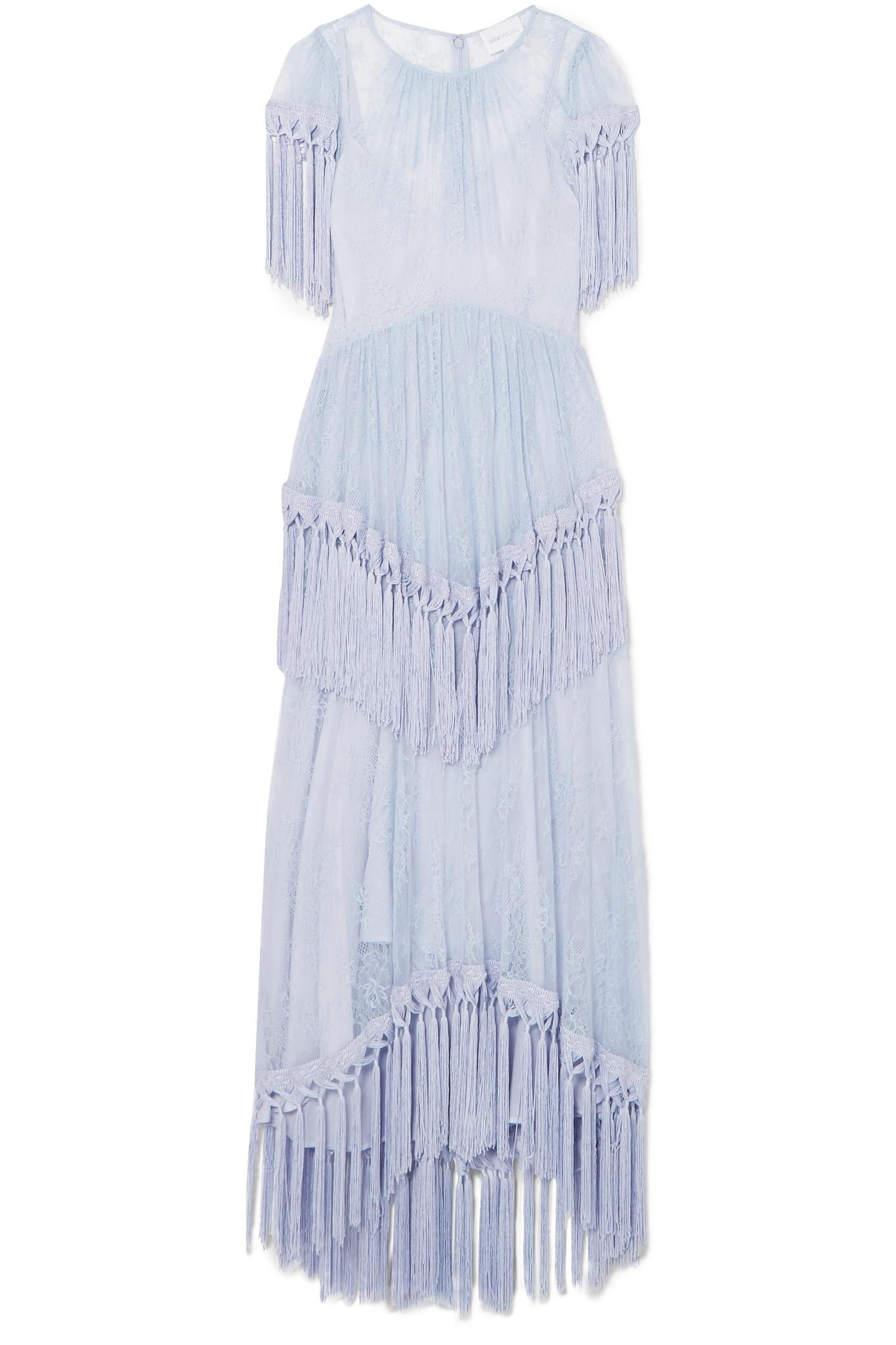 More Than A Woman Fringed Chantilly Lace Dress - Blue Alice McCall XfAJYBej