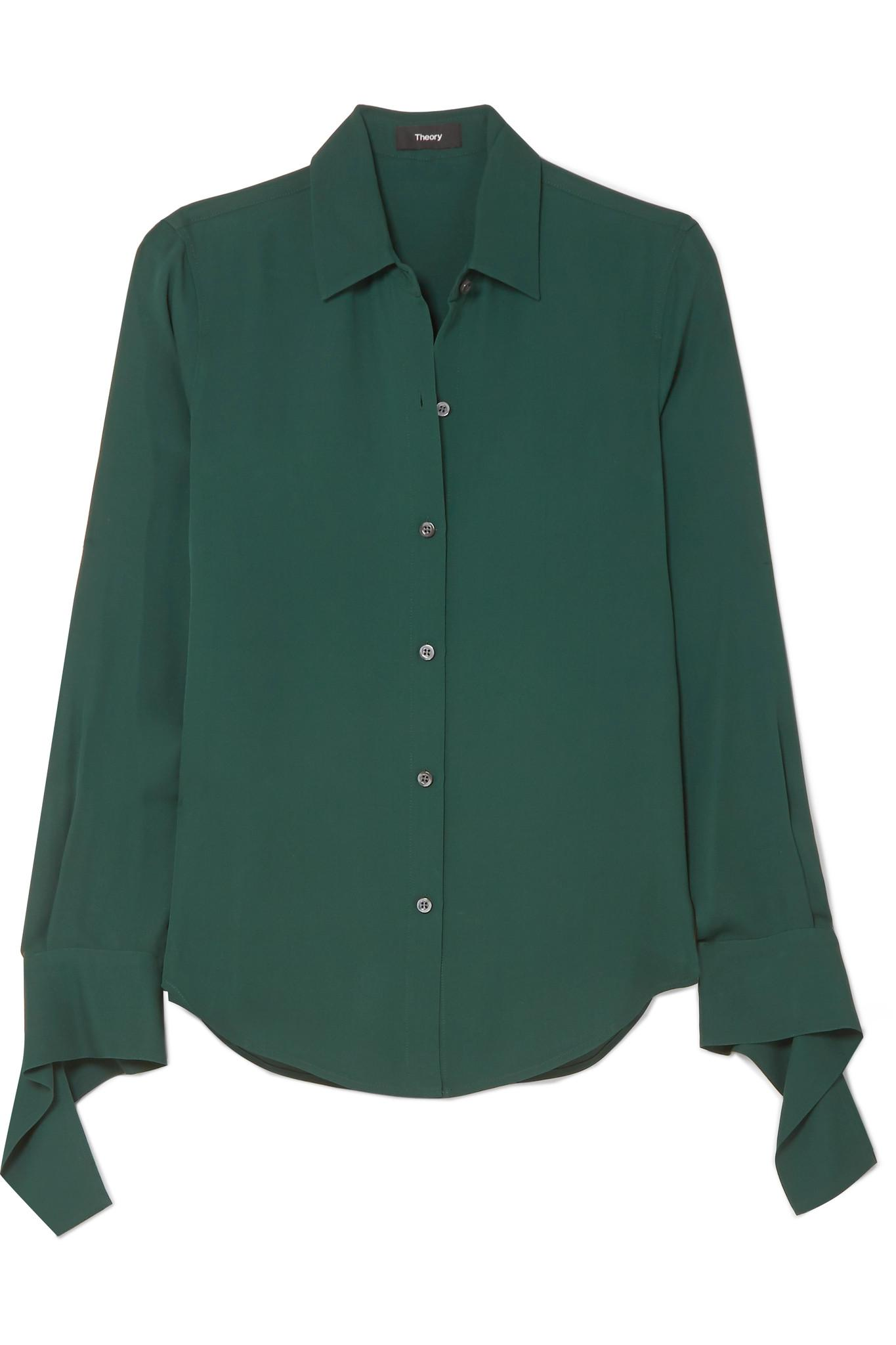 8bd16bce580a8e Theory Silk-crepe Shirt in Green - Lyst