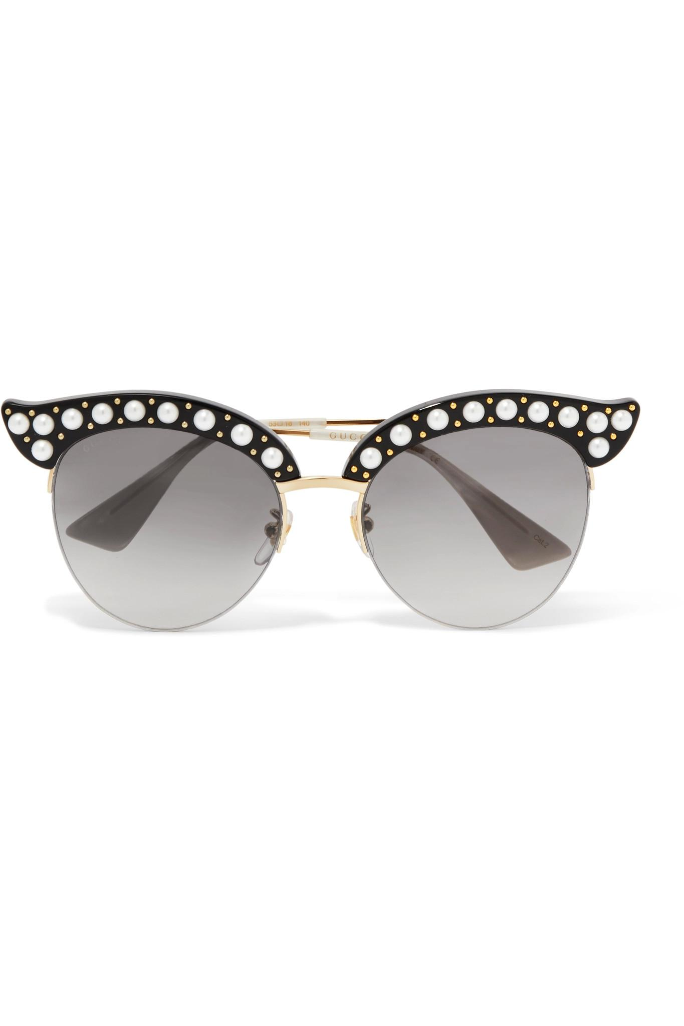 d591409bb0a Gucci. Women s Black Embellished Cat-eye Acetate And Gold-tone Sunglasses