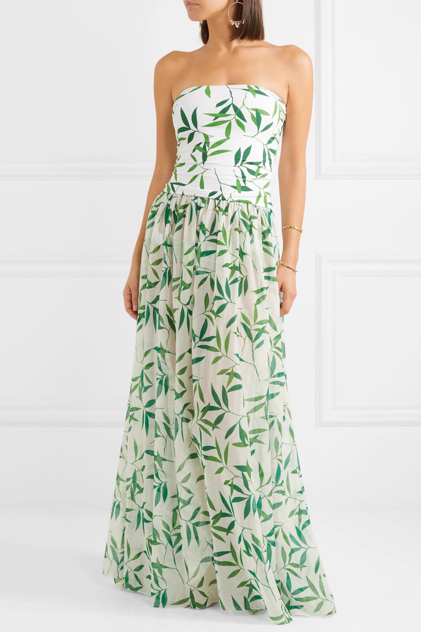 Caroline Constas Cotton Marianna Printed Stretch-jersey And Voile Maxi Dress in Green
