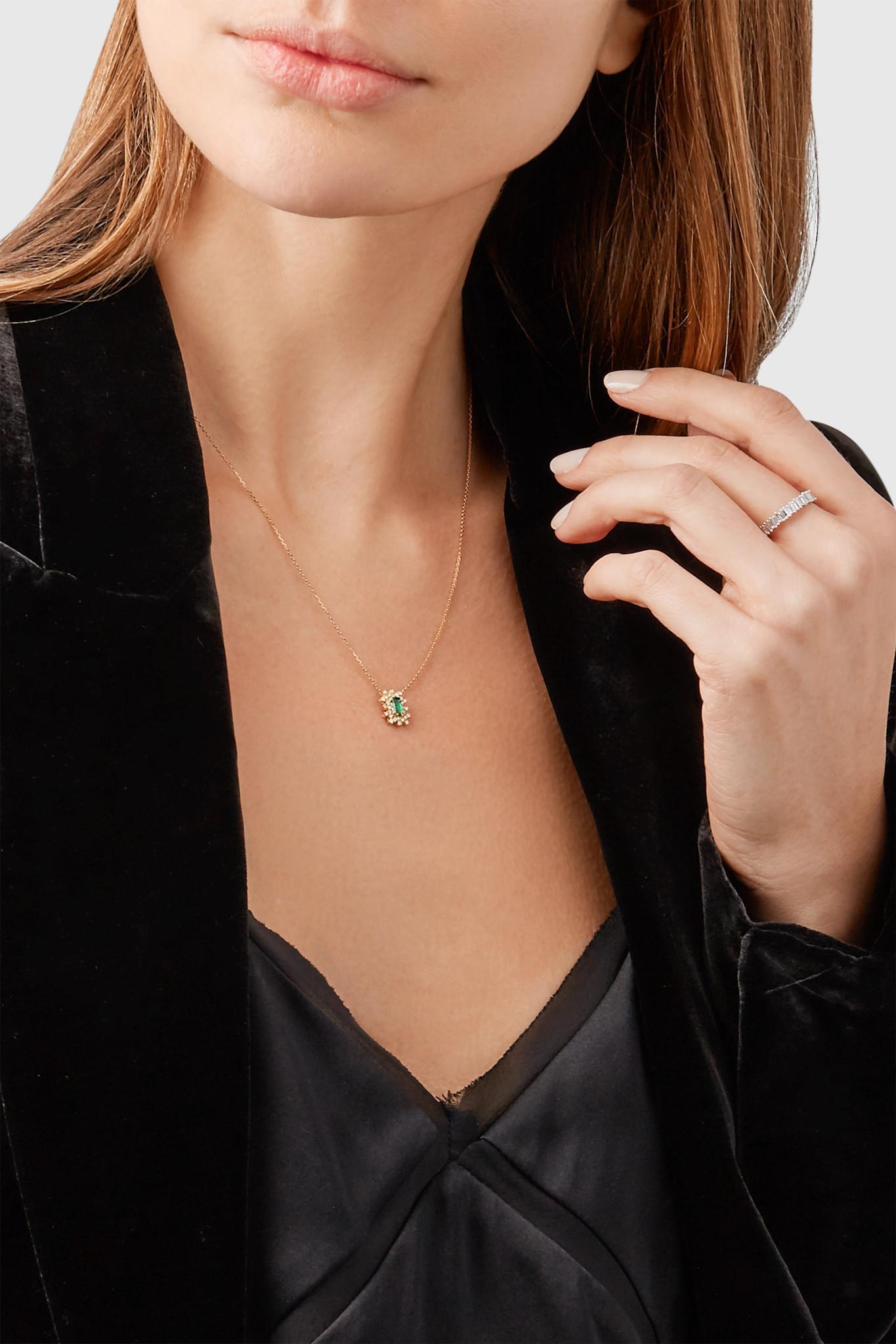 Suzanne Kalan 18-karat Gold, Emerald And Diamond Necklace in Metallic