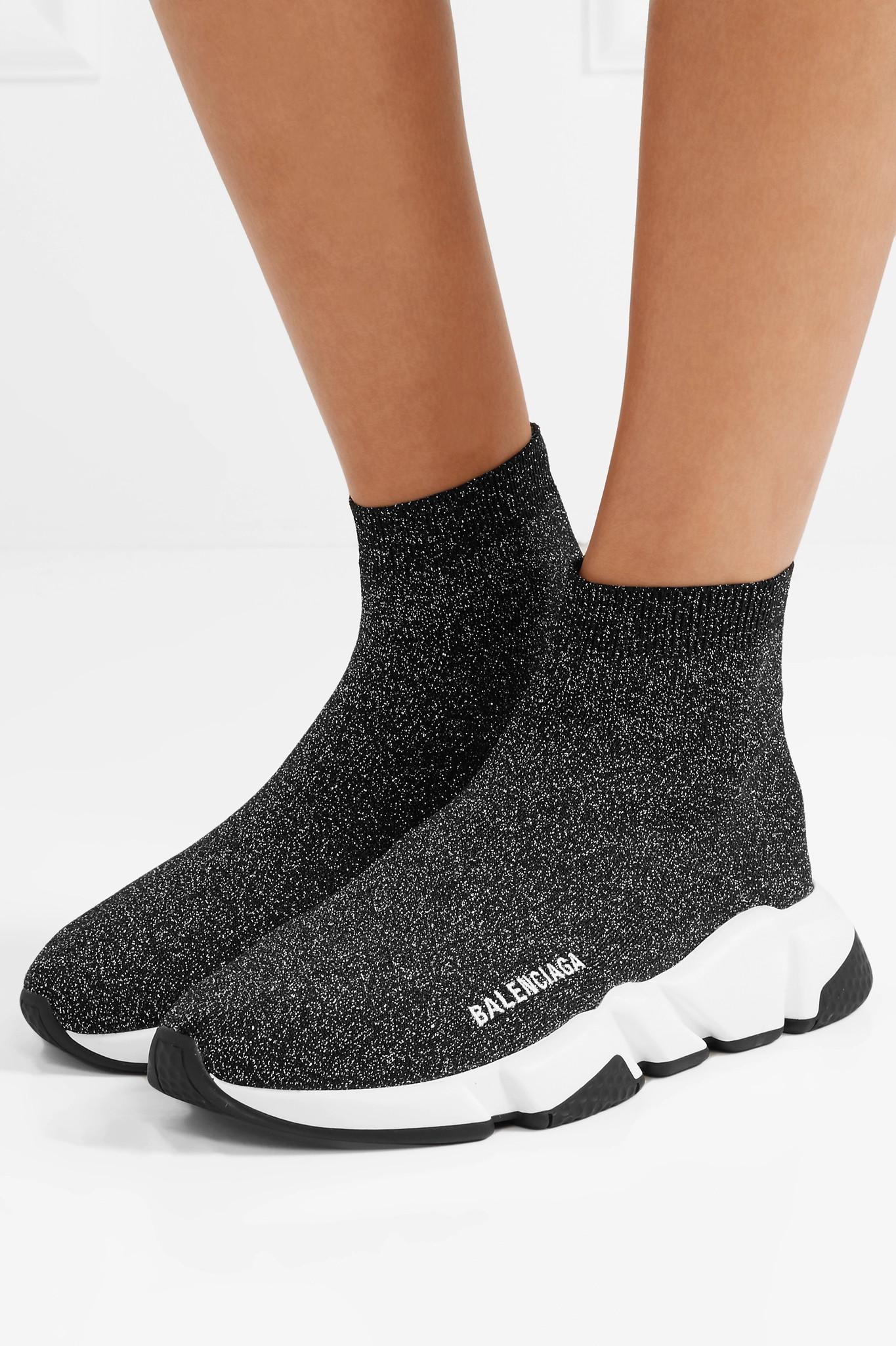 06fa90063420 Balenciaga Speed Logo-print Metallic Stretch-knit High-top Sneakers ...