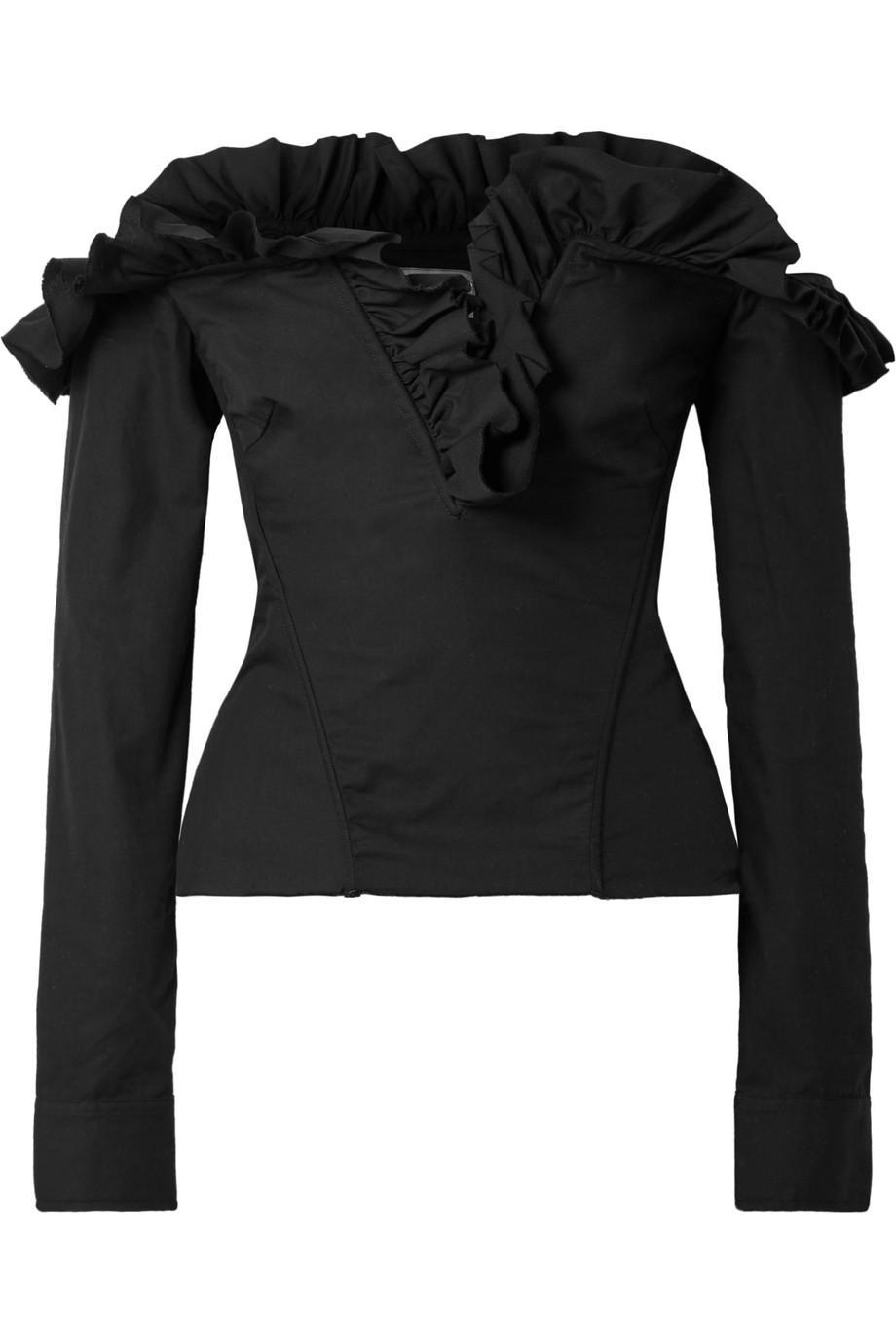 Off-the-shoulder Ruffled Lace-up Cotton-poplin Top - Black Marques Almeida Clearance Visit UzDMqZRX